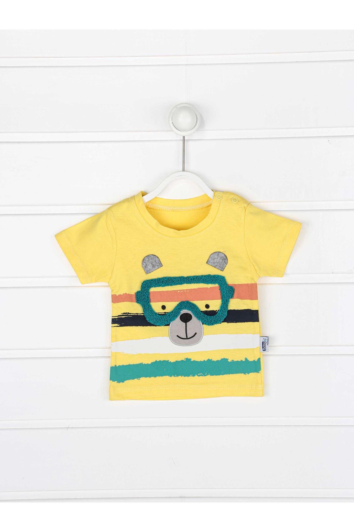 Sarı Erkek Bebek Şortlu Takım