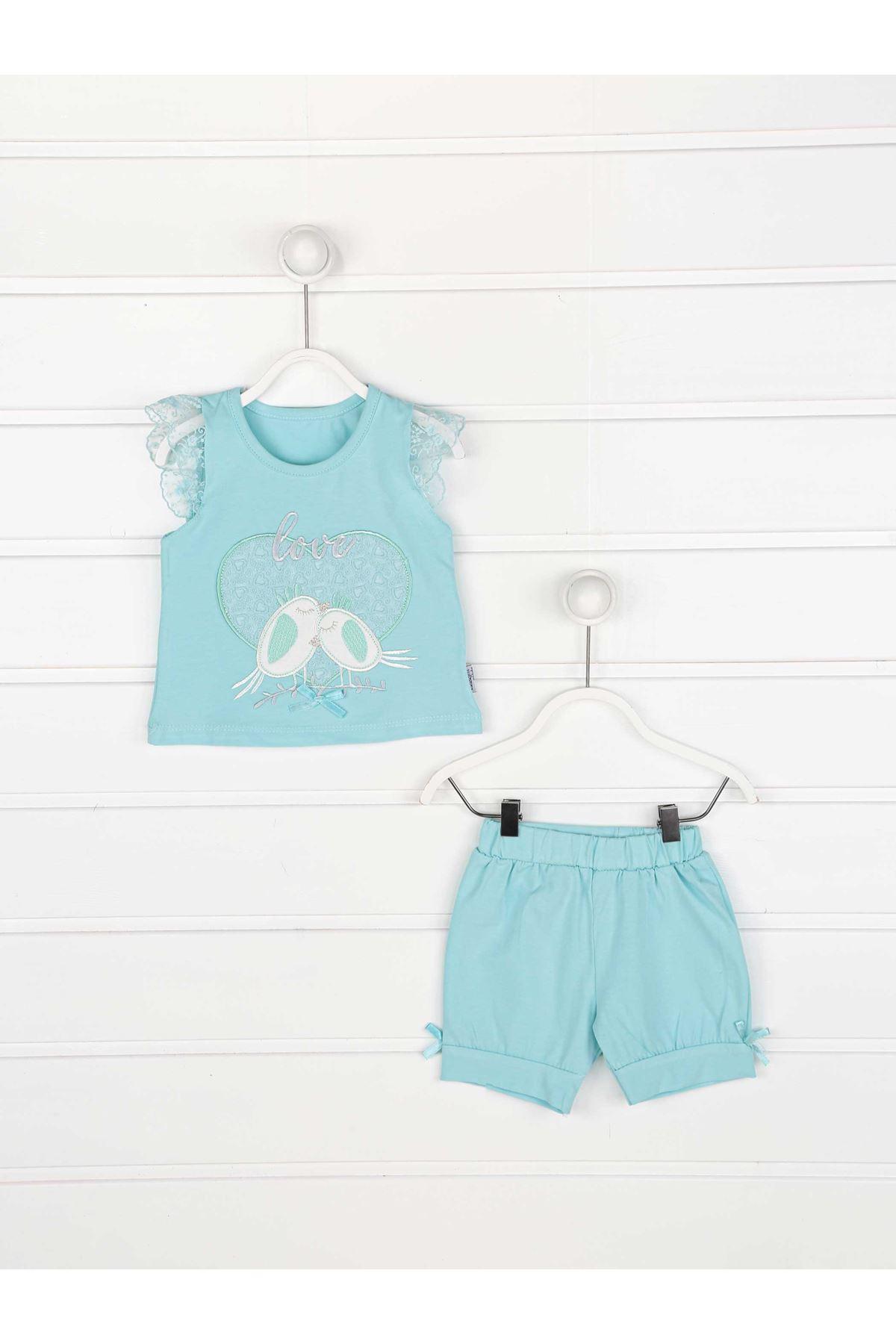 Green Summer baby girl set bottom tights t-shirt 2 pieces bottom top babies cotton seasonal models