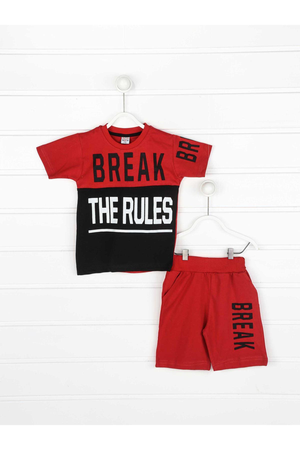 Kırmızı Erkek Çocuk Şortlu Takım