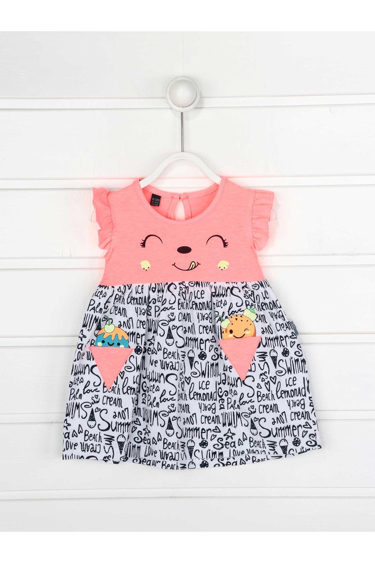 Fuşya Yazlık Kız Bebek Elbise