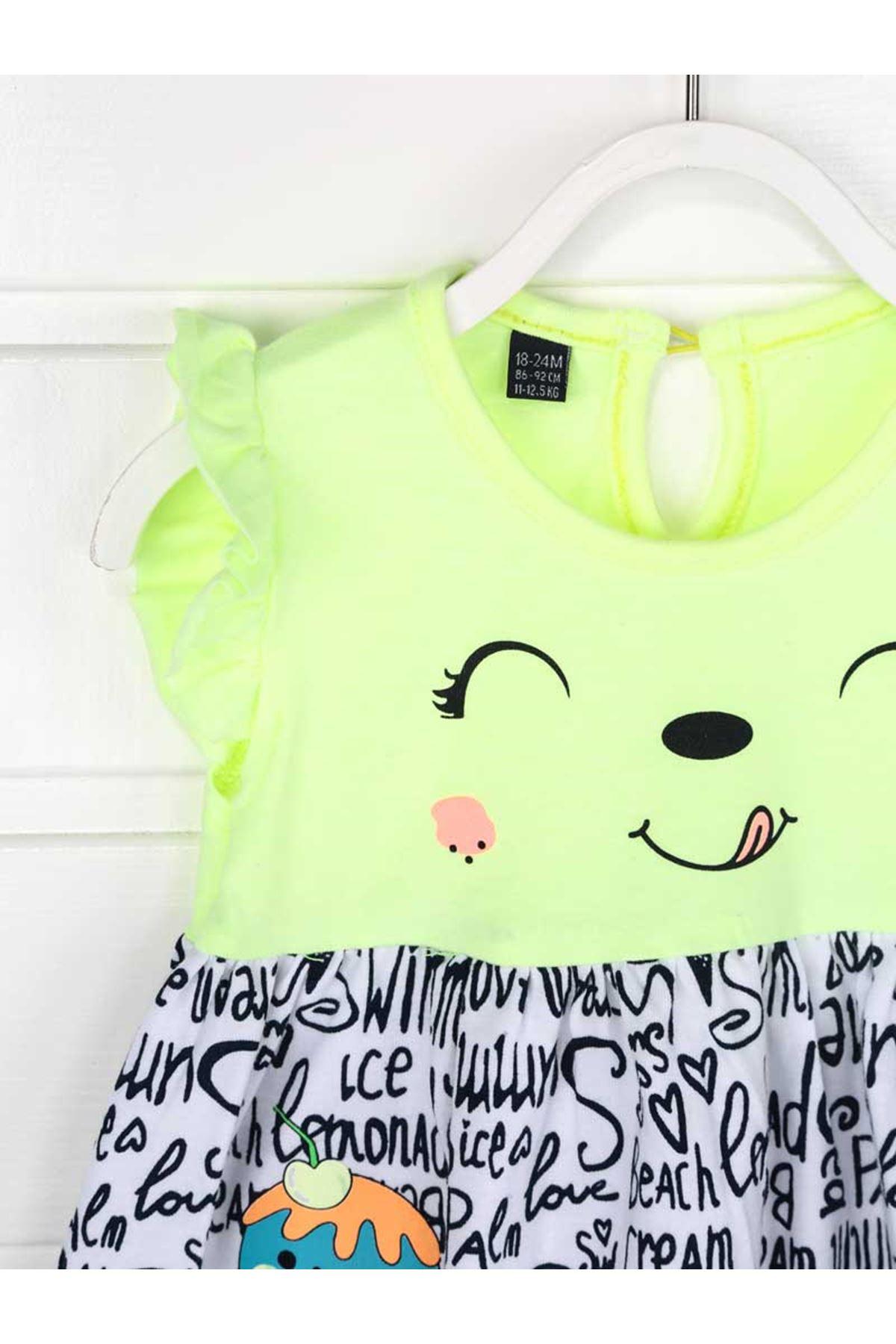 Yeşil Yazlık Kız Bebek Elbise