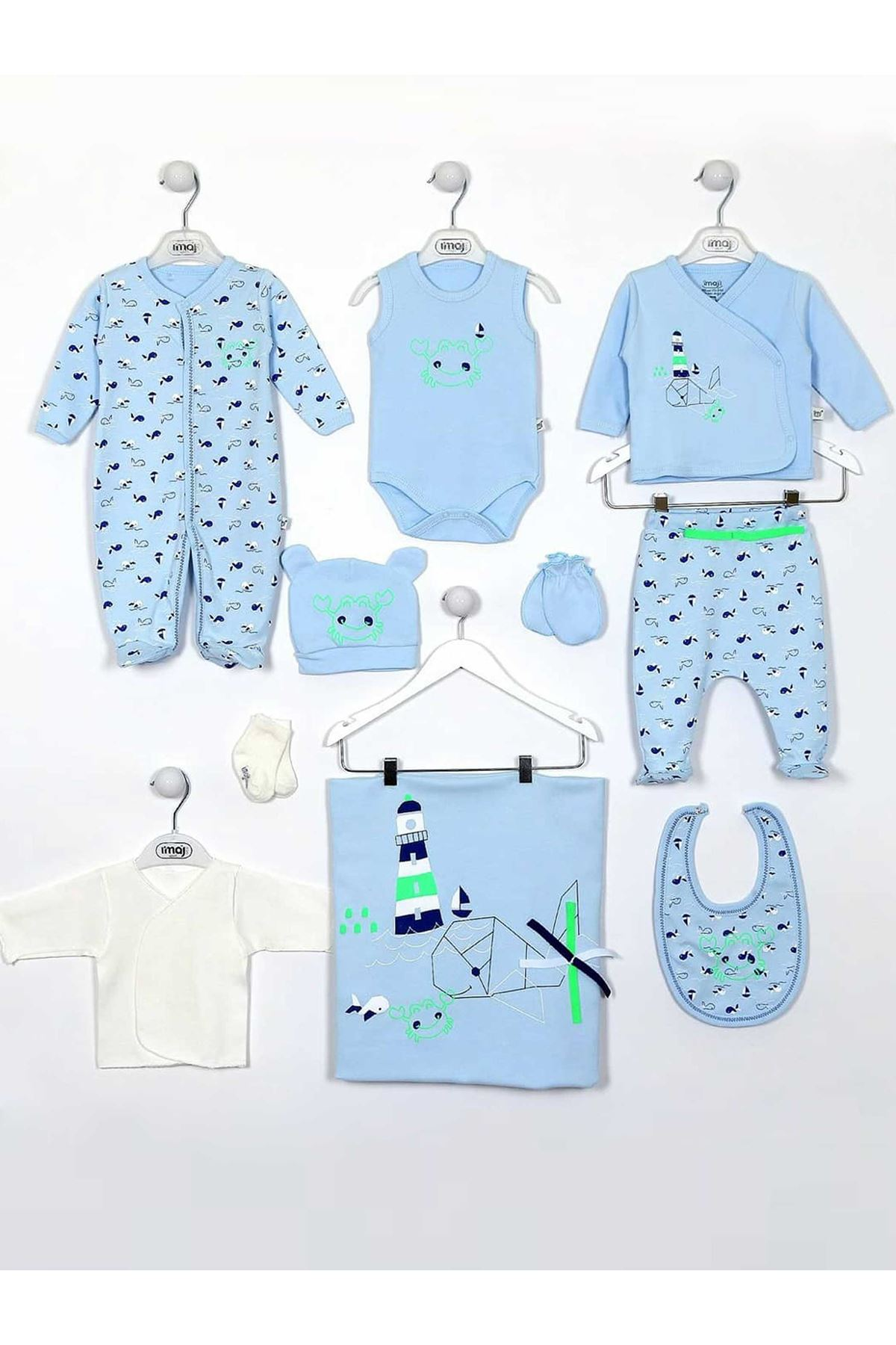 Blue Newborn Baby Boy 10 piece suit set cotton Hospital Outlet daily casual Babies clothes style fashion models