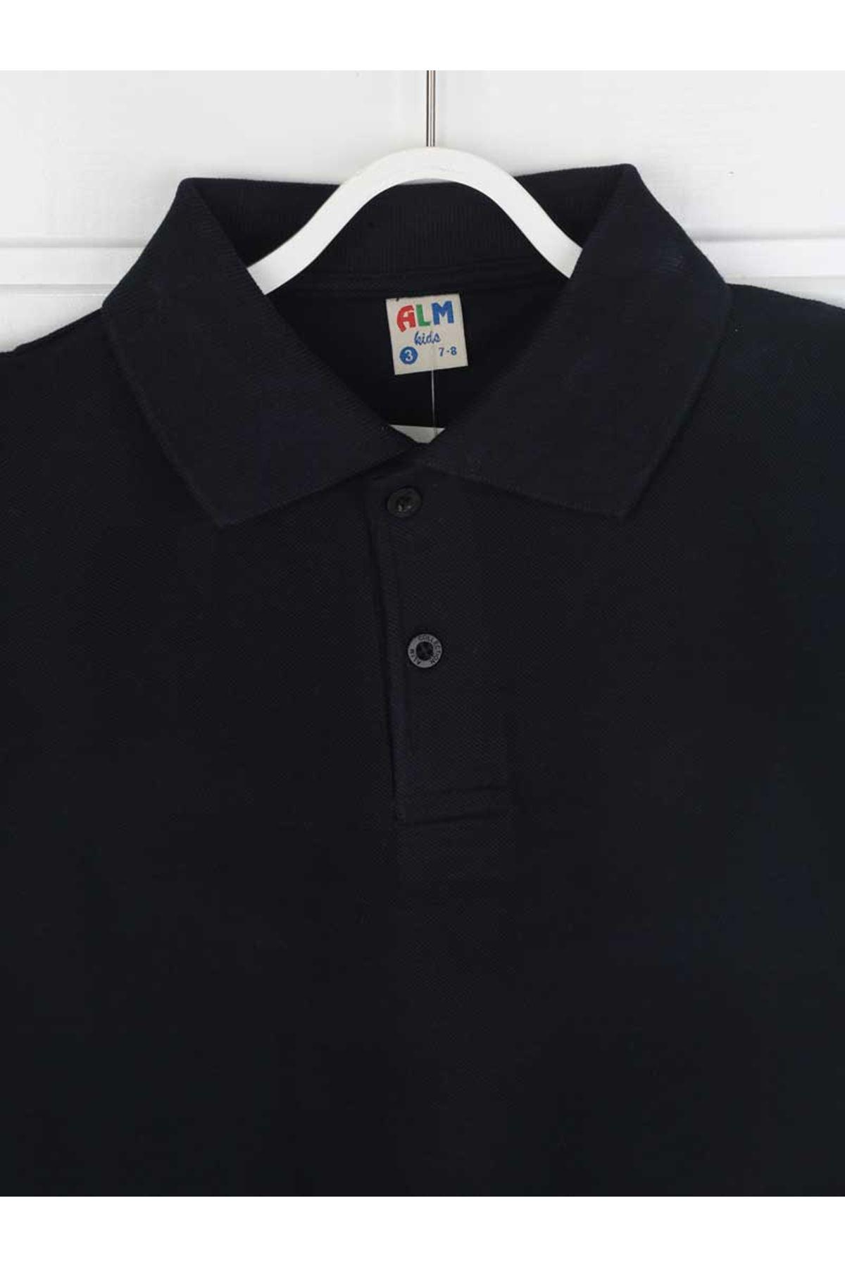 Lacivert Polo Yaka Pamuklu Çocuk Basic Tişört