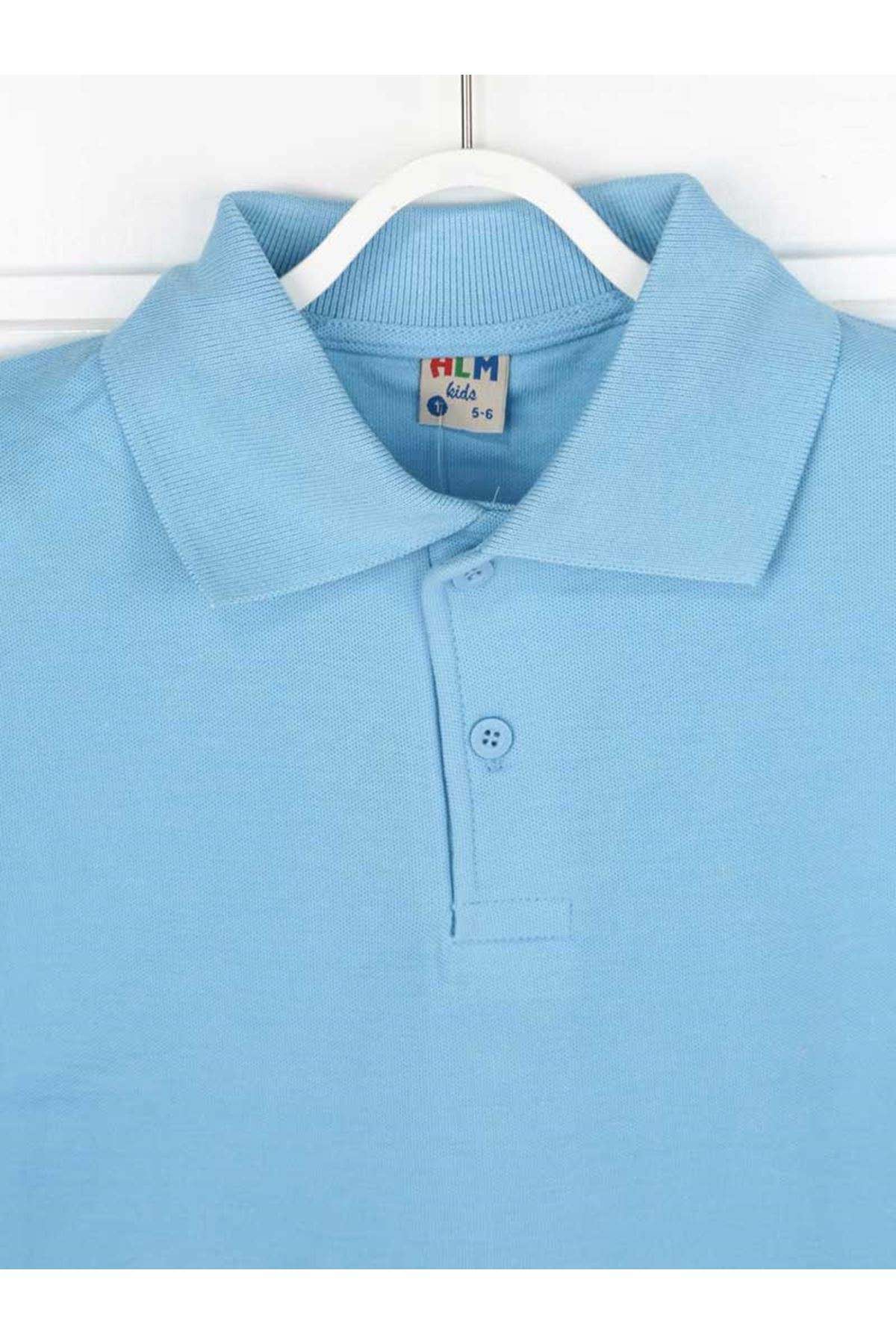 Mavi Polo Yaka Pamuklu Çocuk Basic Tişört