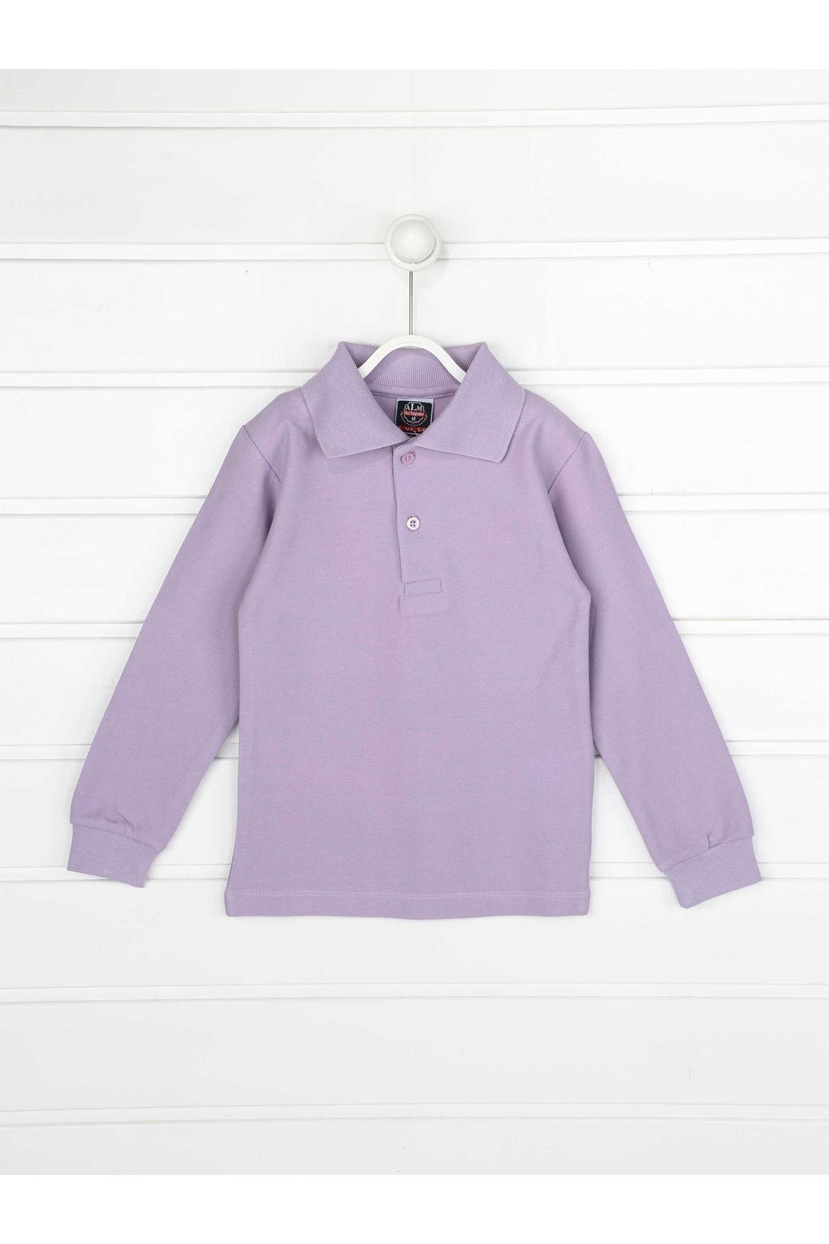 Lilac Polo Neck Cotton Kids Basic T-Shirt