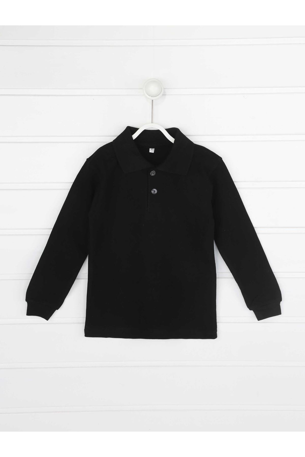 Siyah Polo Yaka Pamuklu Çocuk Basic Tişört