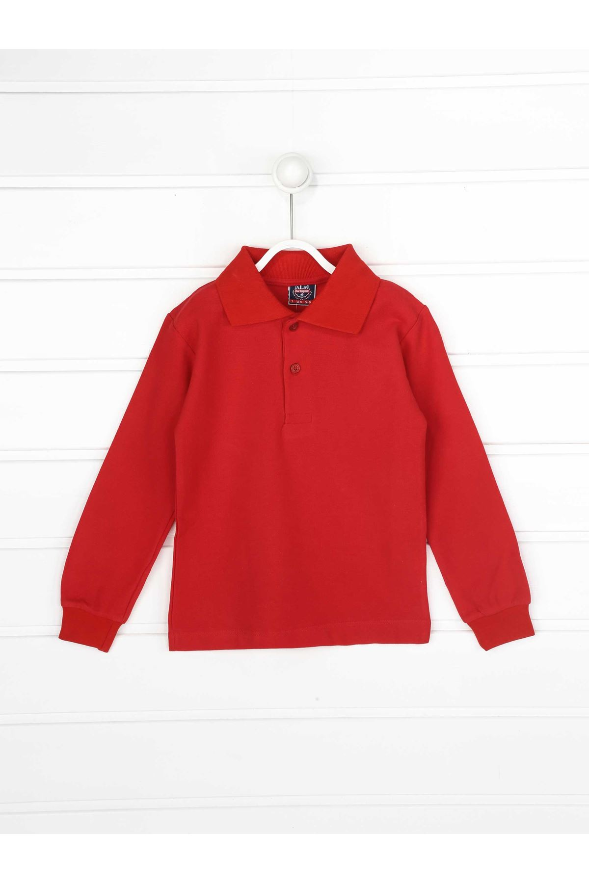 Kırmızı Polo Yaka Pamuklu Çocuk Basic Tişört
