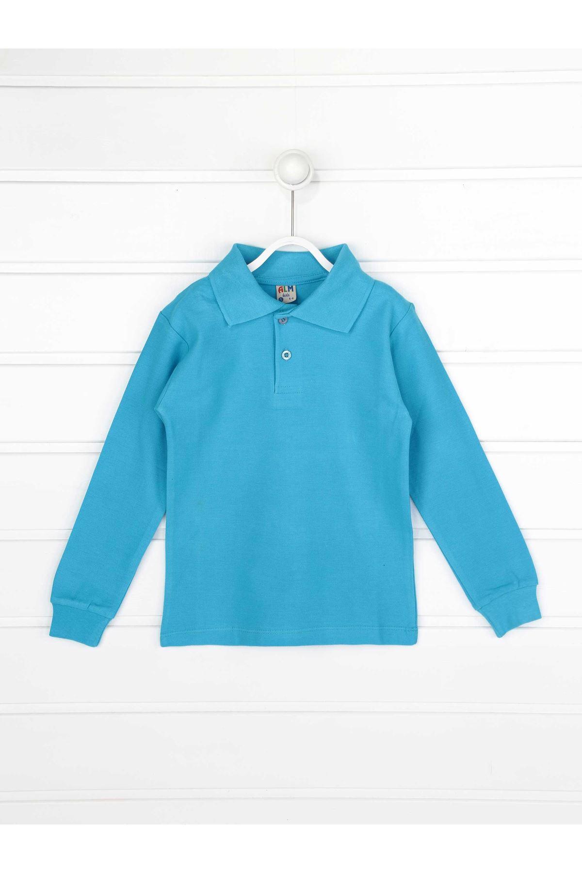 Turkuaz Polo Yaka Pamuklu Çocuk Basic Tişört