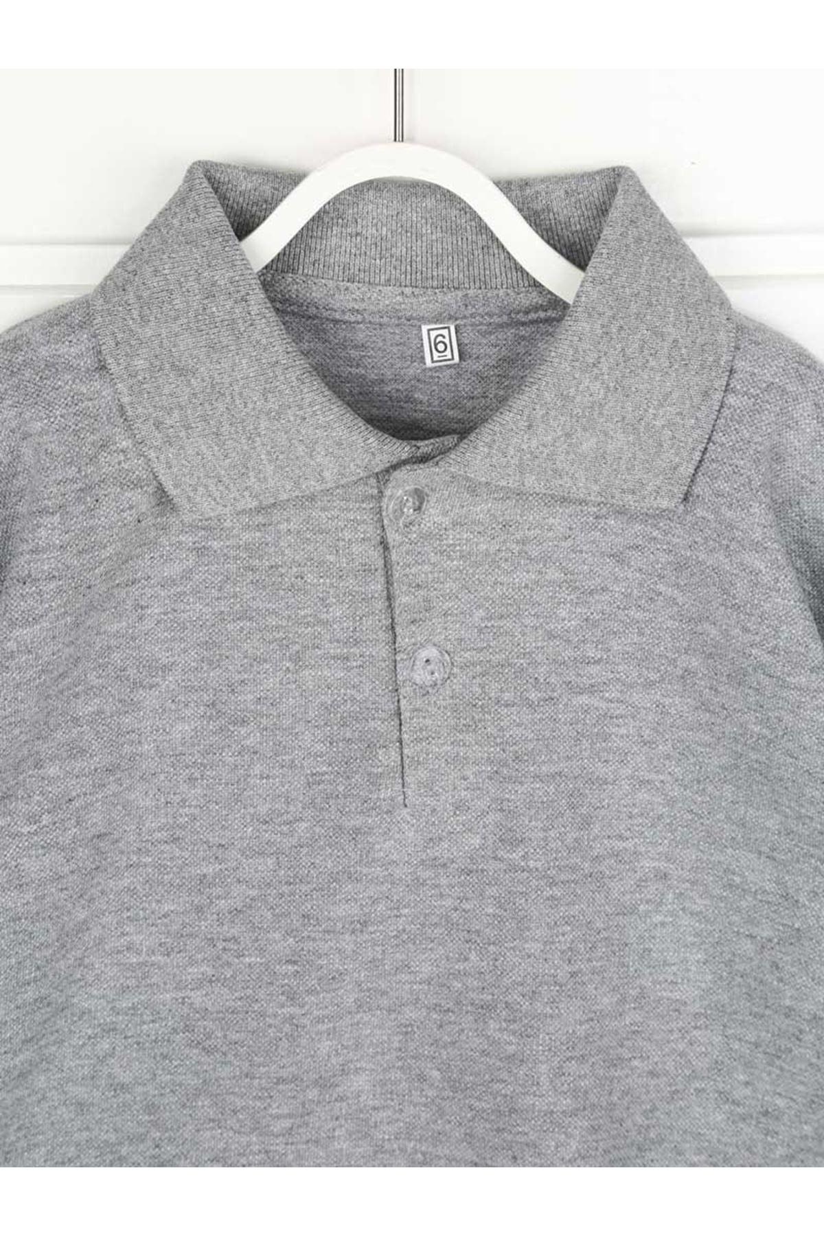Gri Polo Yaka Pamuklu Çocuk Basic Tişört
