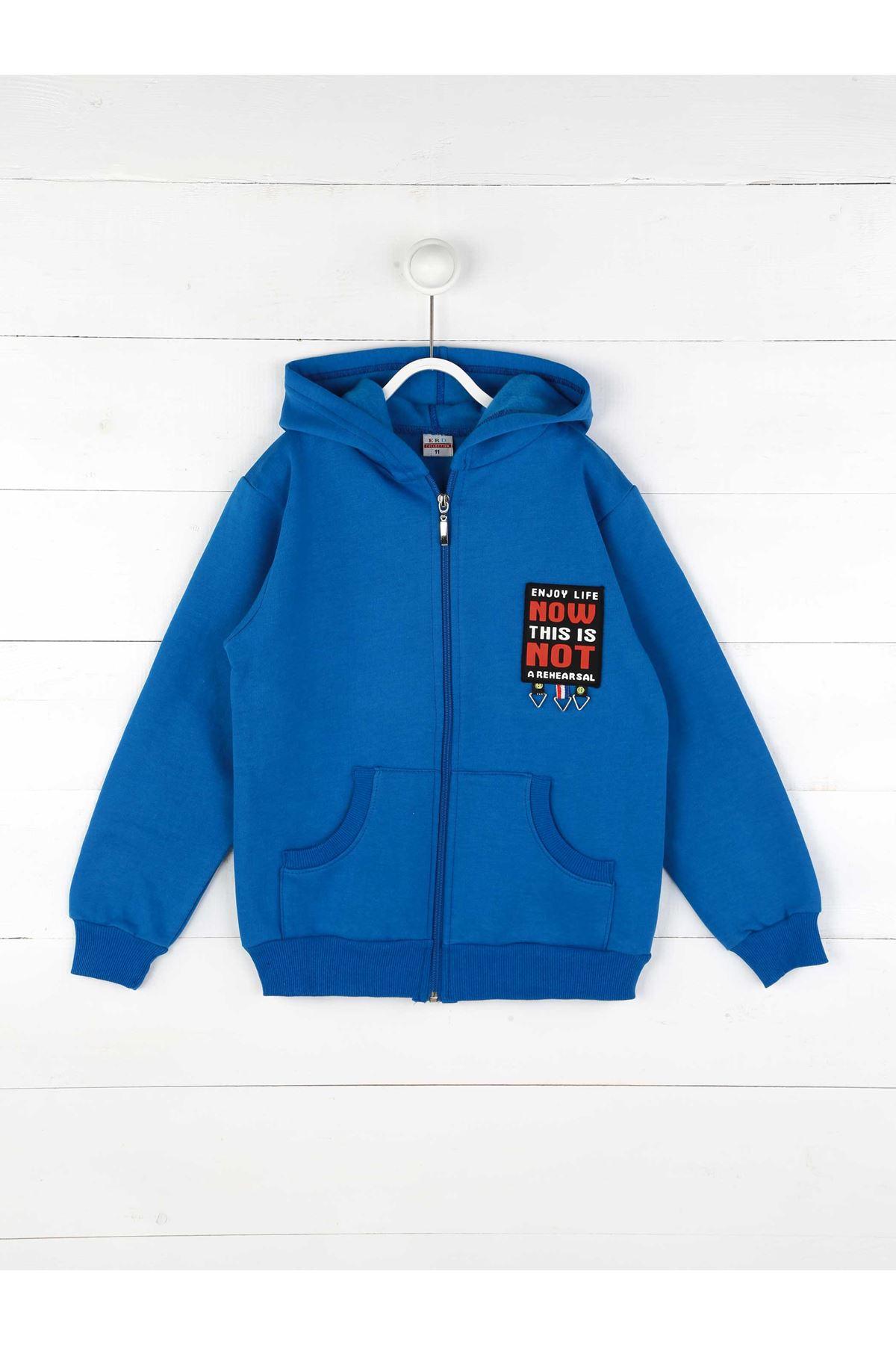 Mavi Kışlık Kapşonlu Erkek Çocuk Ceket