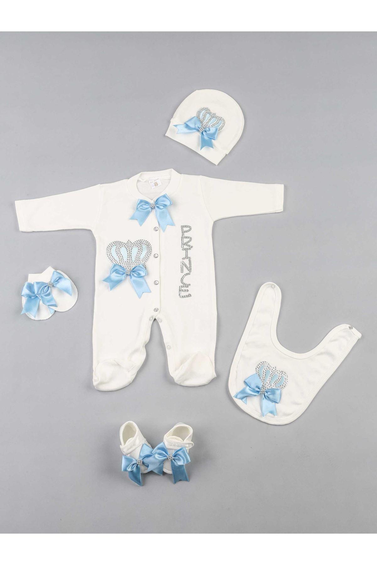 Mavi Prens Kral Taçlı 5 li Bebek Tulum Seti