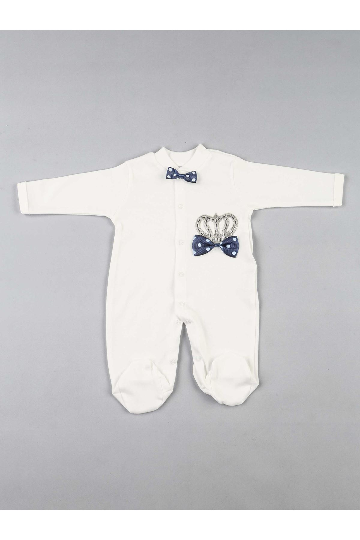 Navy blue king-crowned baby boy suit newborn hospital outlet rompers 3-piece cotton overalls gloves hat sets fashion style