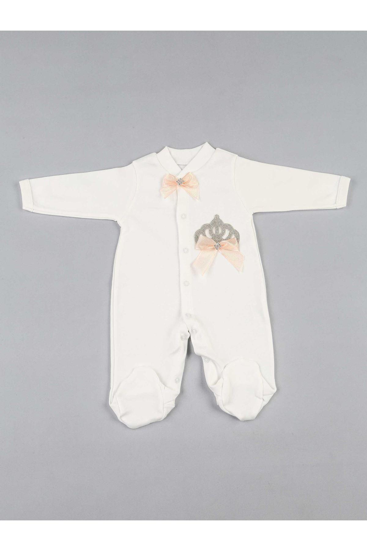 Pudra Kraliçe Taçlı Kız Bebek 3 lü Tulum