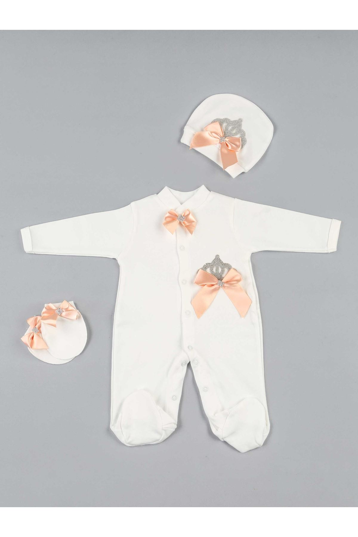 Powder baby girl queen crowned 3-piece suit overalls hospital outlet newborn babies rompers hat gloves cotton casual models