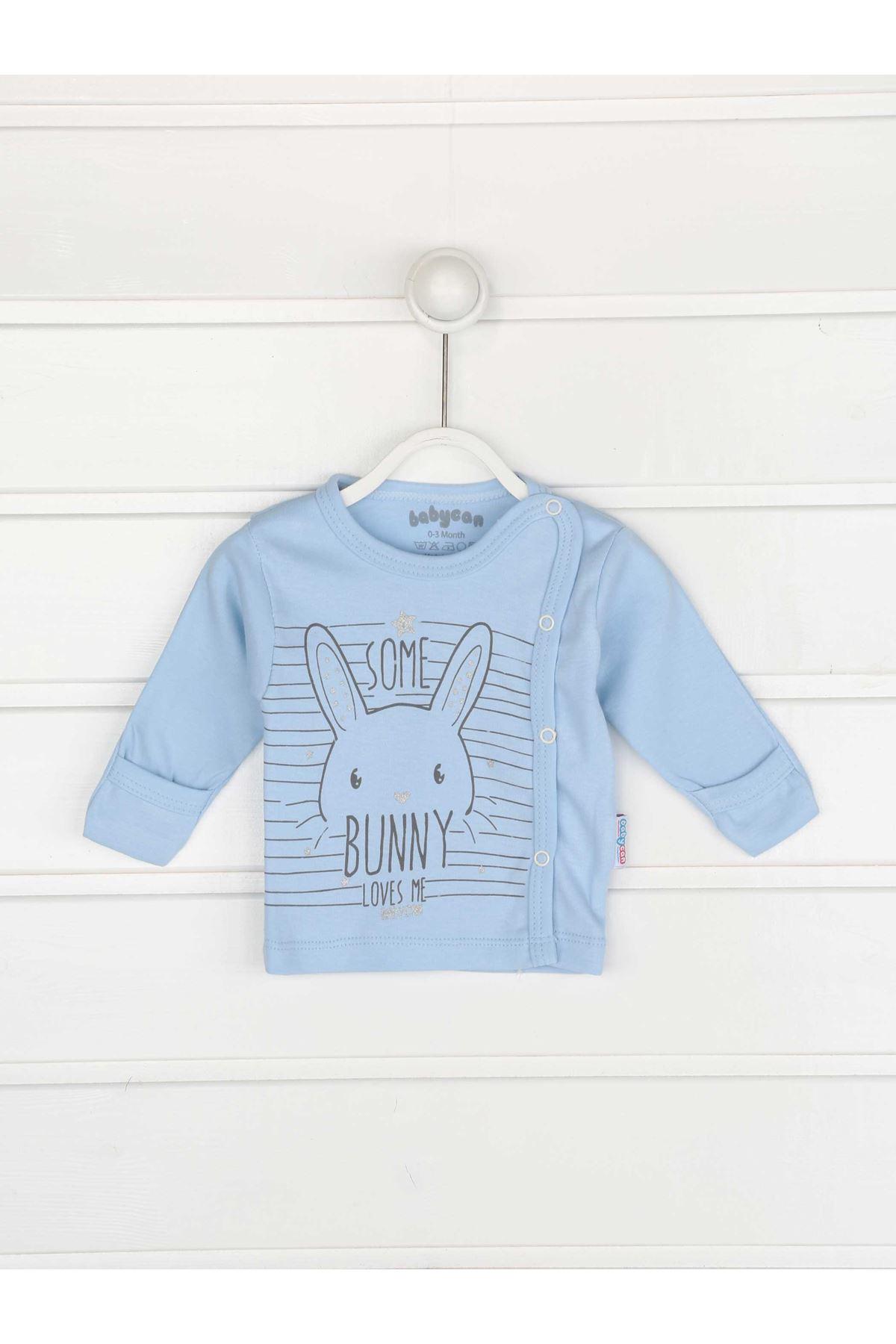 Mavi Kundak Eldivenli Erkek Bebek 3 lü Zıbın Takımı