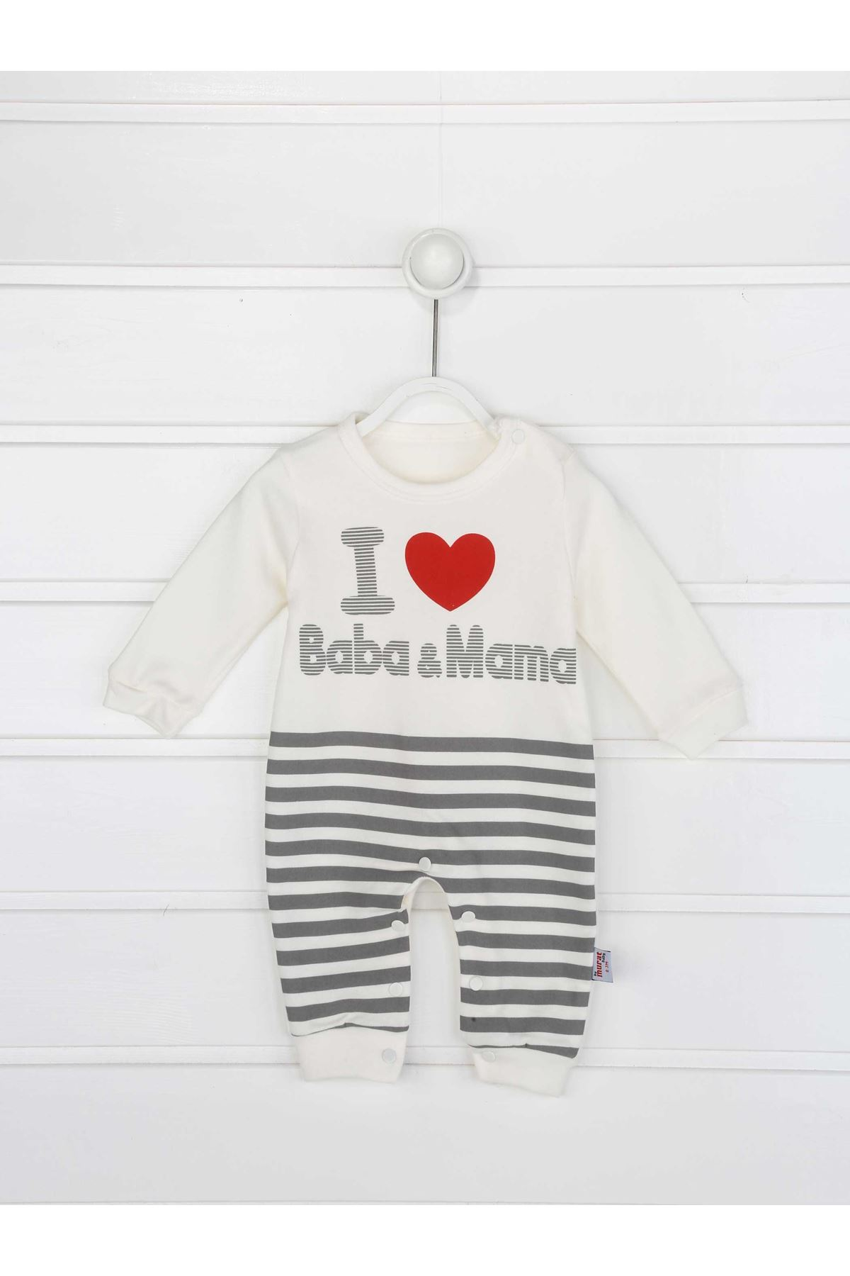 Gray Male Baby Hat Jumpsuit