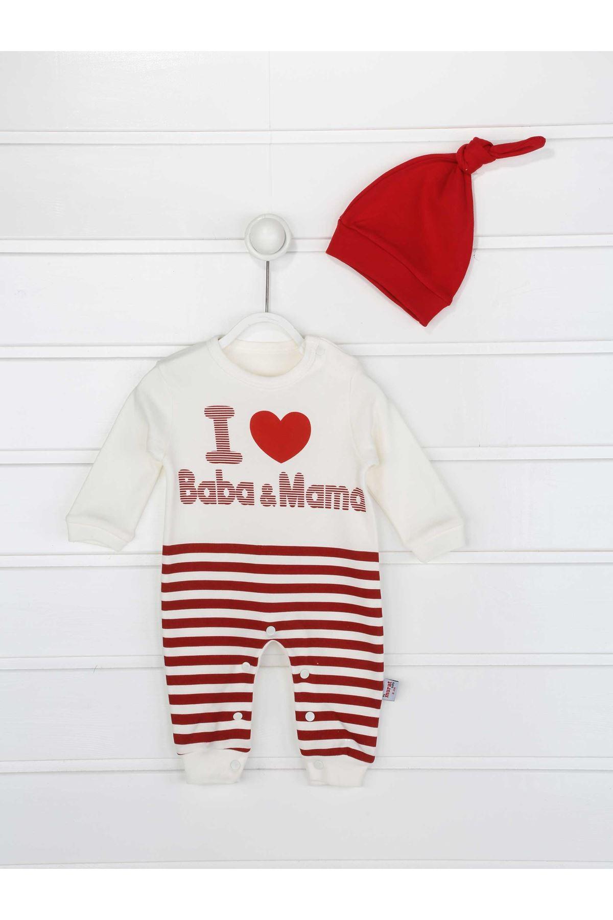 Kırmızı Erkek Bebek Şapkalı Tulum