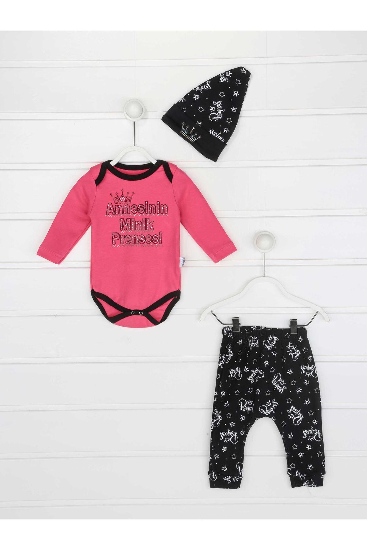 Fuşya Annesinin Minik Prensesi Kız Bebek 3 lü Takım