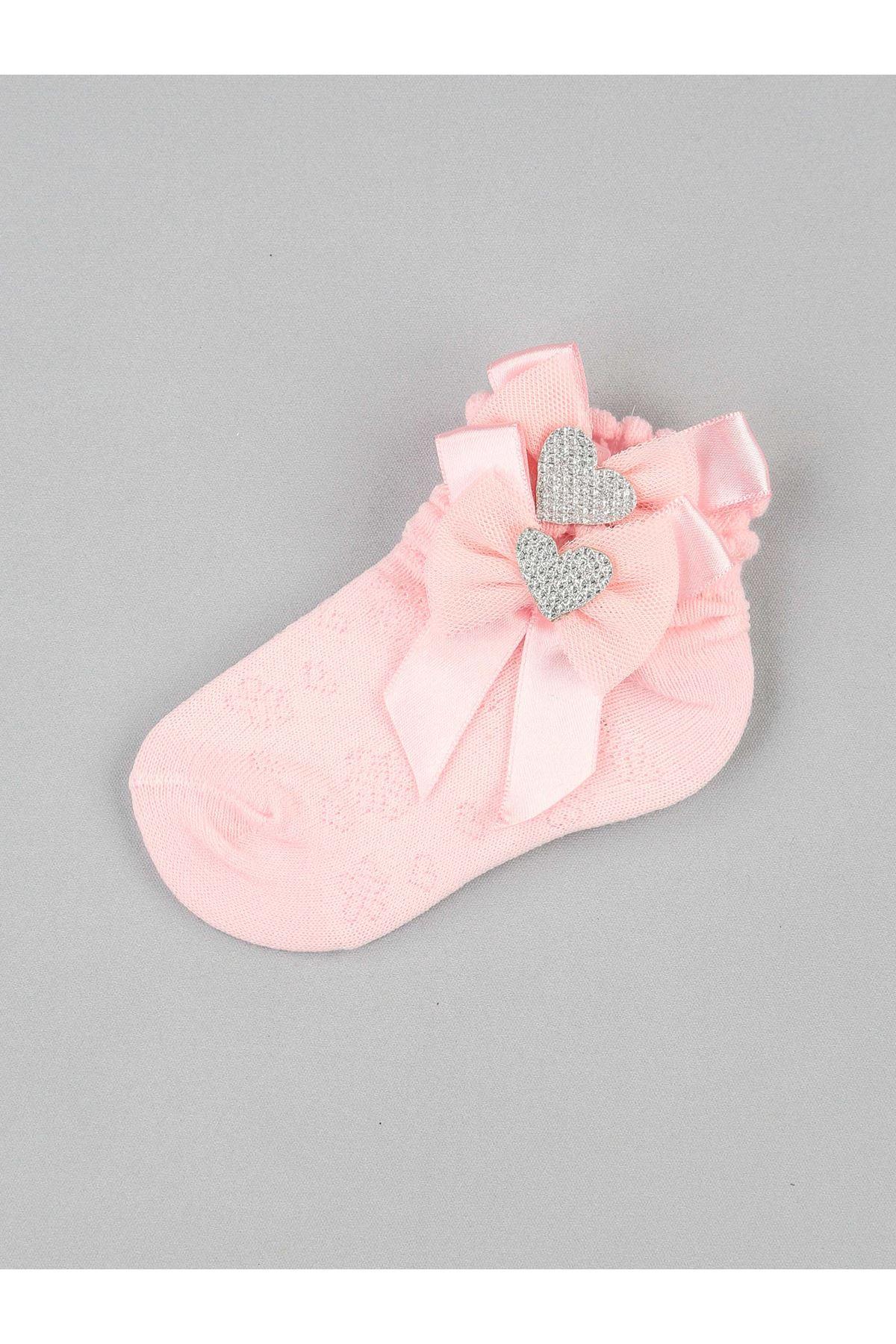 Pink Bow Heart Girl Socks