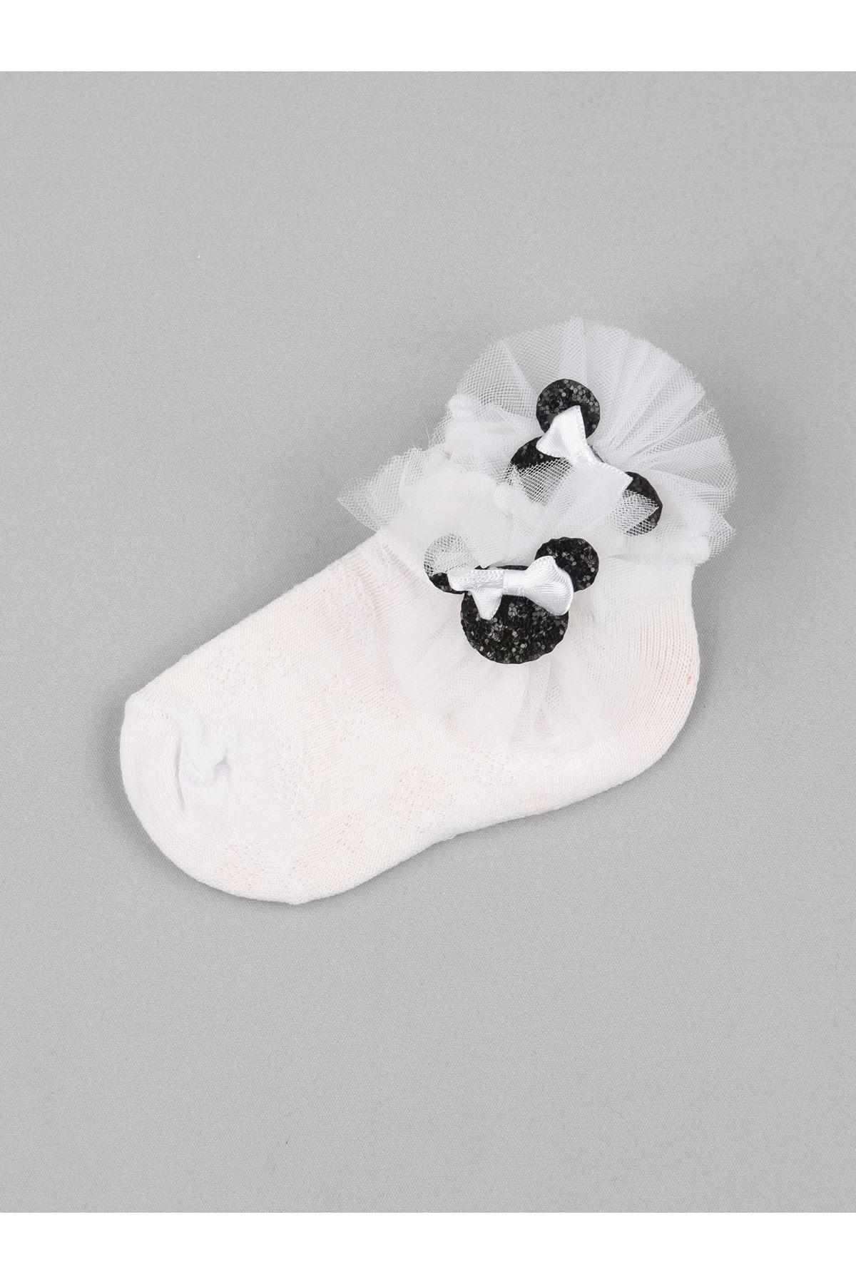 Beyaz Fiyonklu Tüllü Kız Çocuk Çorap