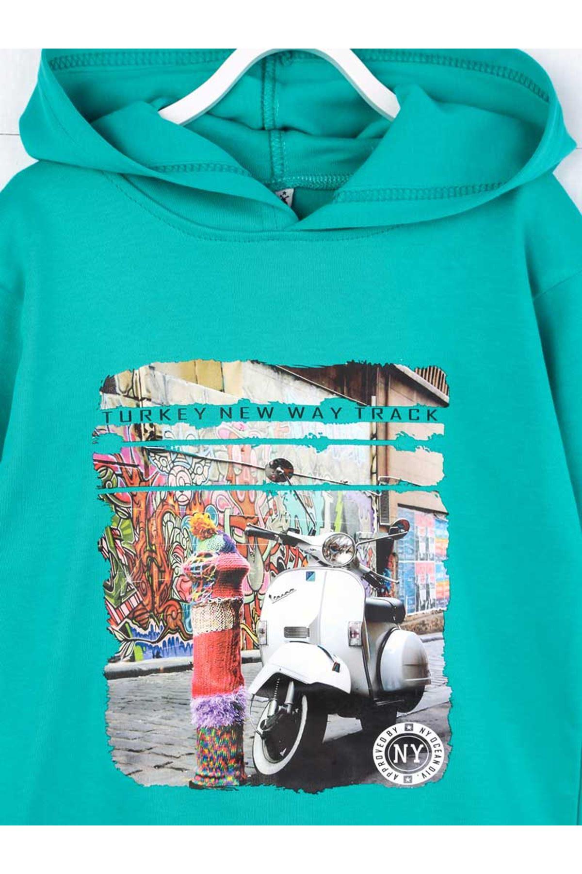 Green Seasonal Hooded Girl Sweatshirt