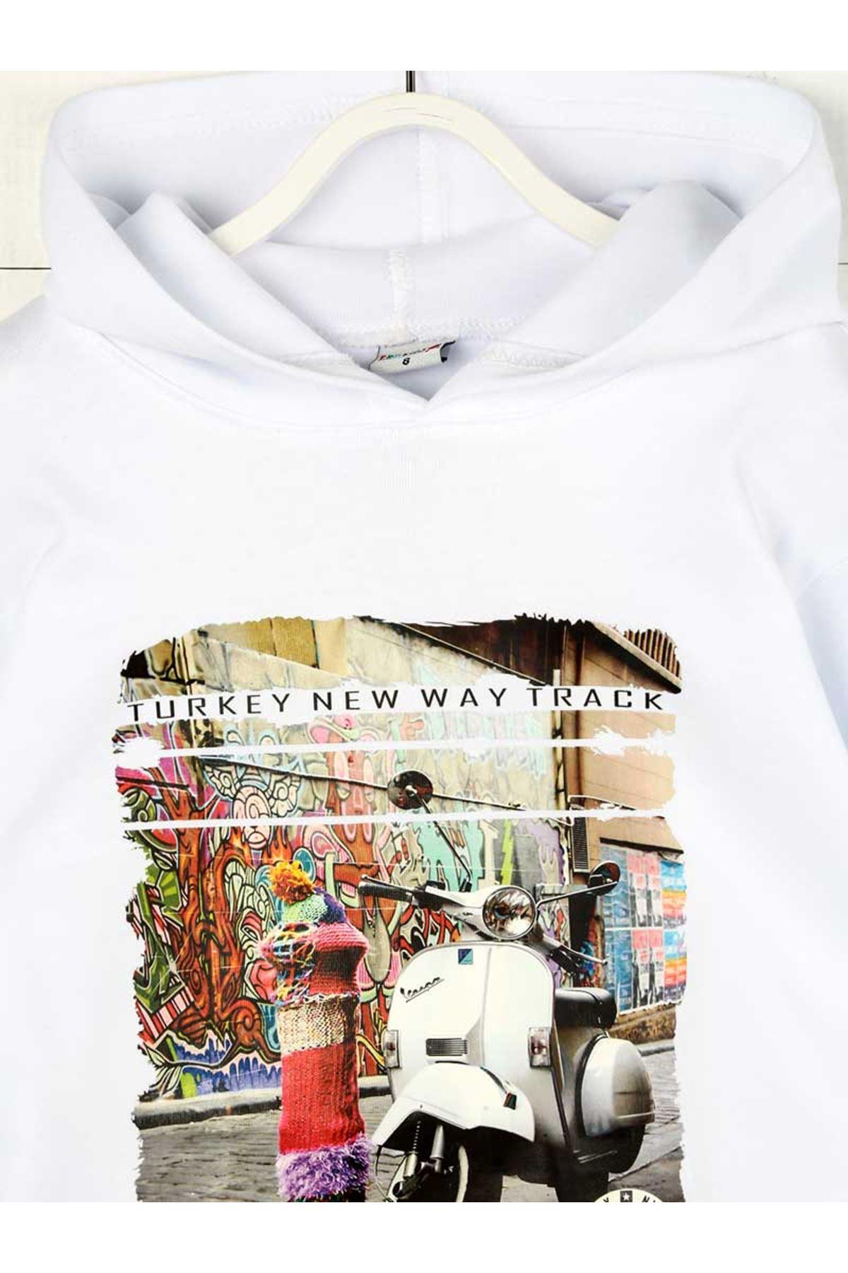 White Seasonal Hooded Girl Sweatshirt
