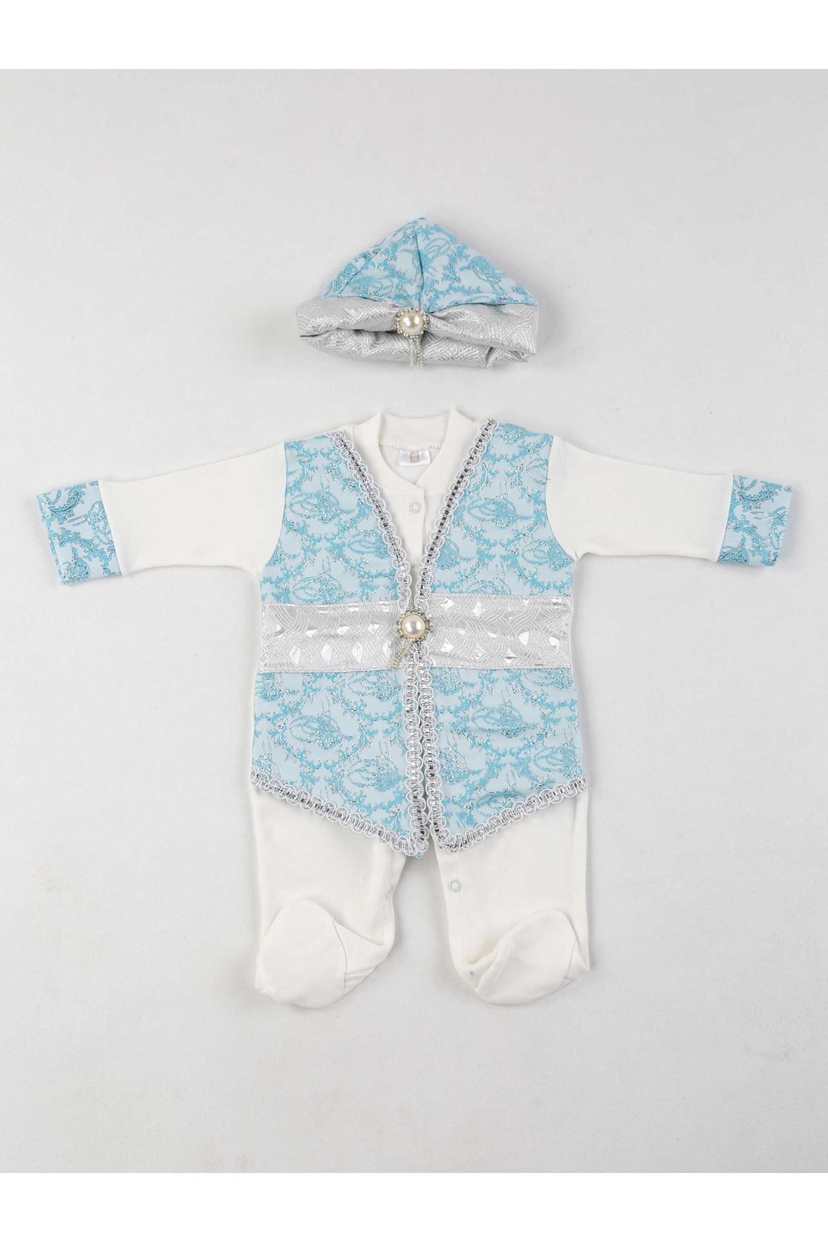 Gray turquoise baby boy suit ottoman mevlüt babies jumpsuit hat mevlüt special occasions cotton sweaty models