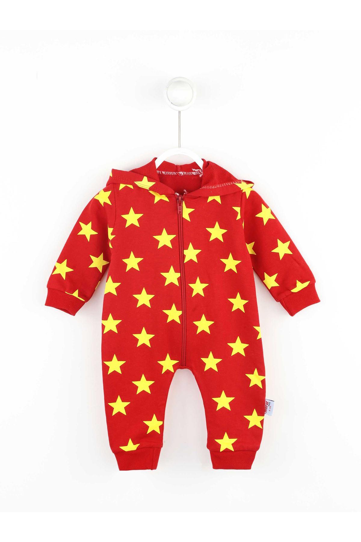 Kırmızı Erkek Bebek Tulum