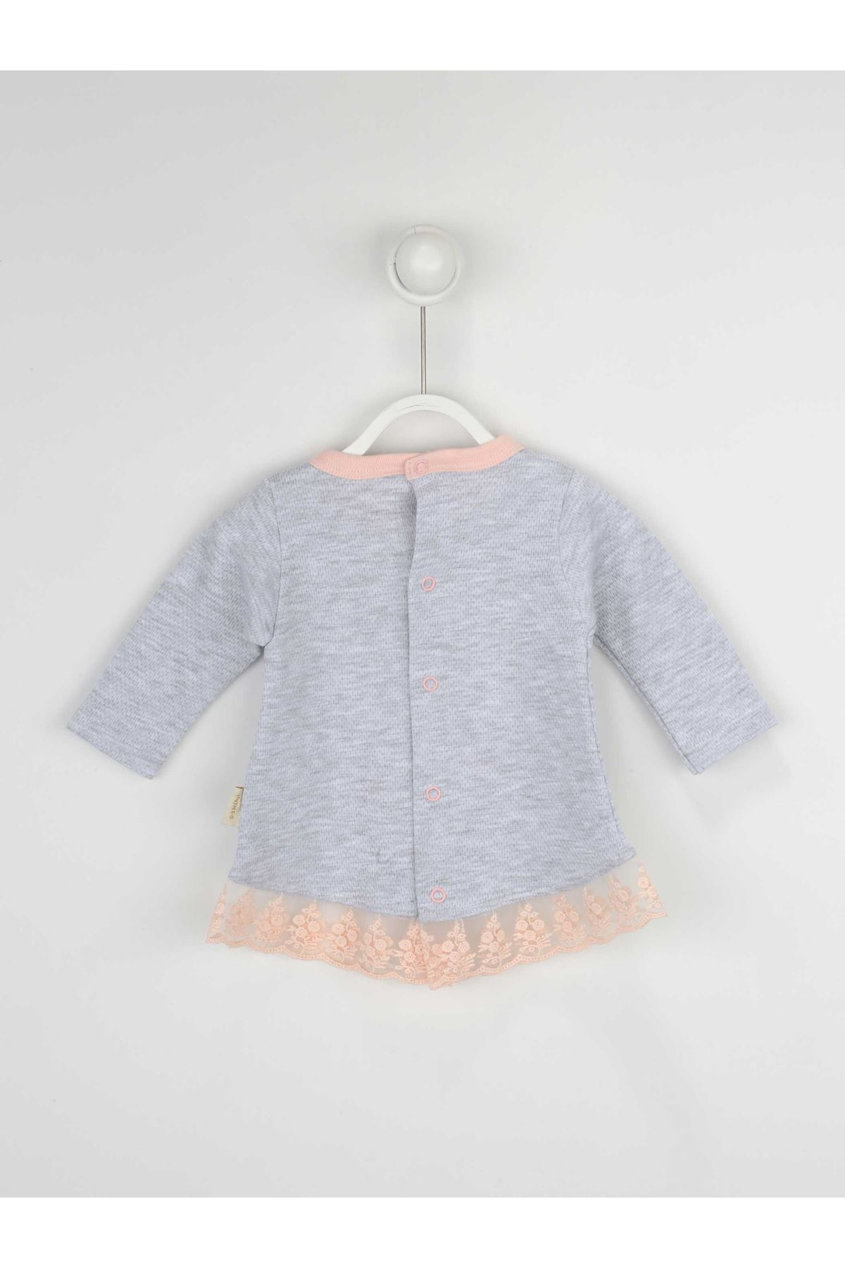 Powder Pink Grey Baby Girl Daily 3 Piece Suit Set Cotton Daily Seasonal Casual Wear Girls Babies Suit Outfit Models