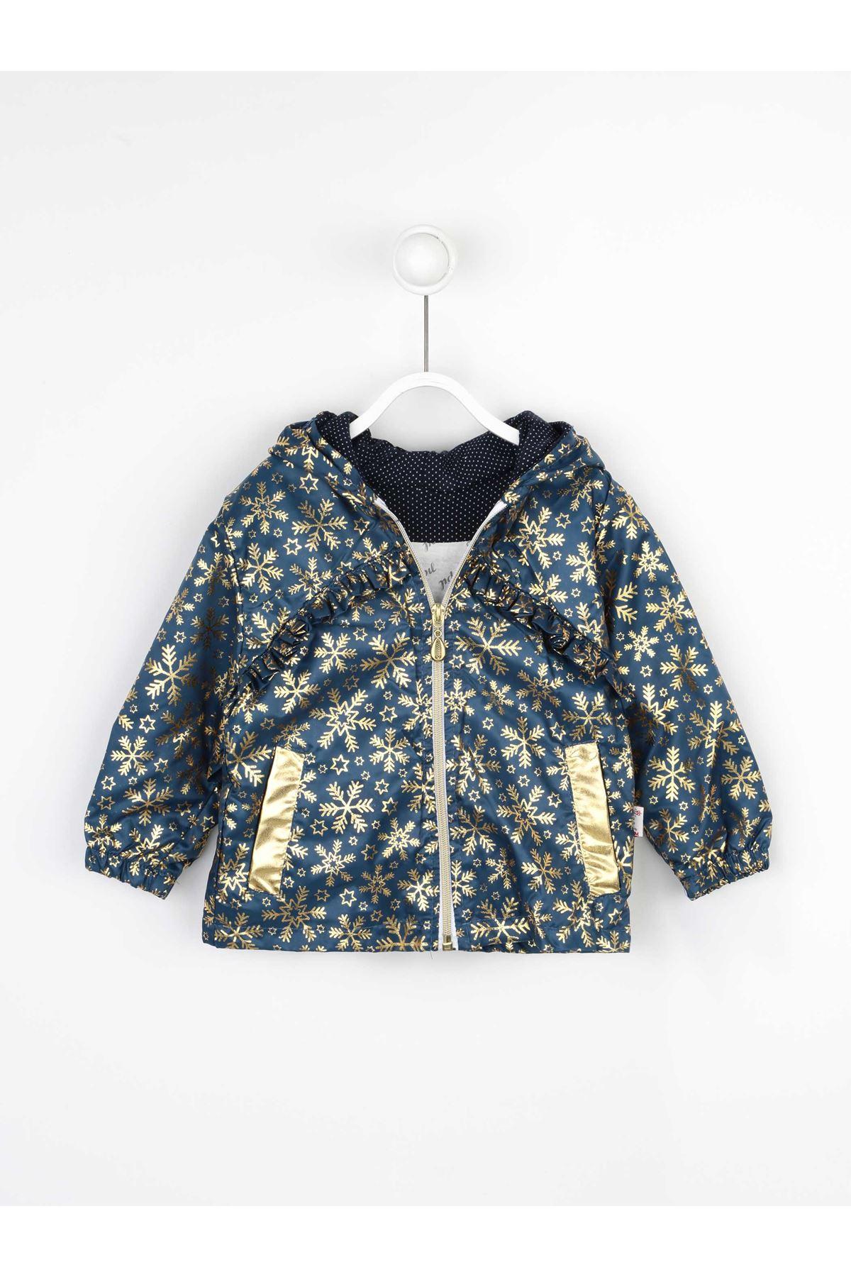 Navy Blue Girl child Hooded Raincoat Coats Seasonal Thin Waterproof girls Jacket Winter Rain Style Cute Kids coats Models