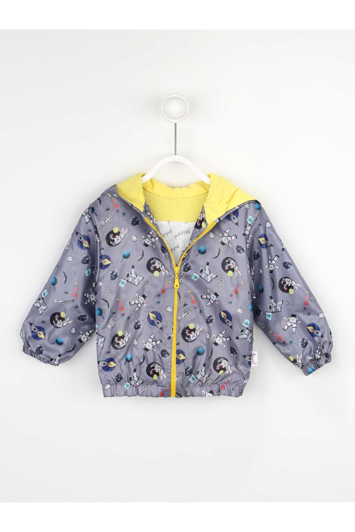 Grey Boys Children's Hooded Raincoat coats Seasonal Thin Waterproof Men Jacket Winter Rain Kids coats models