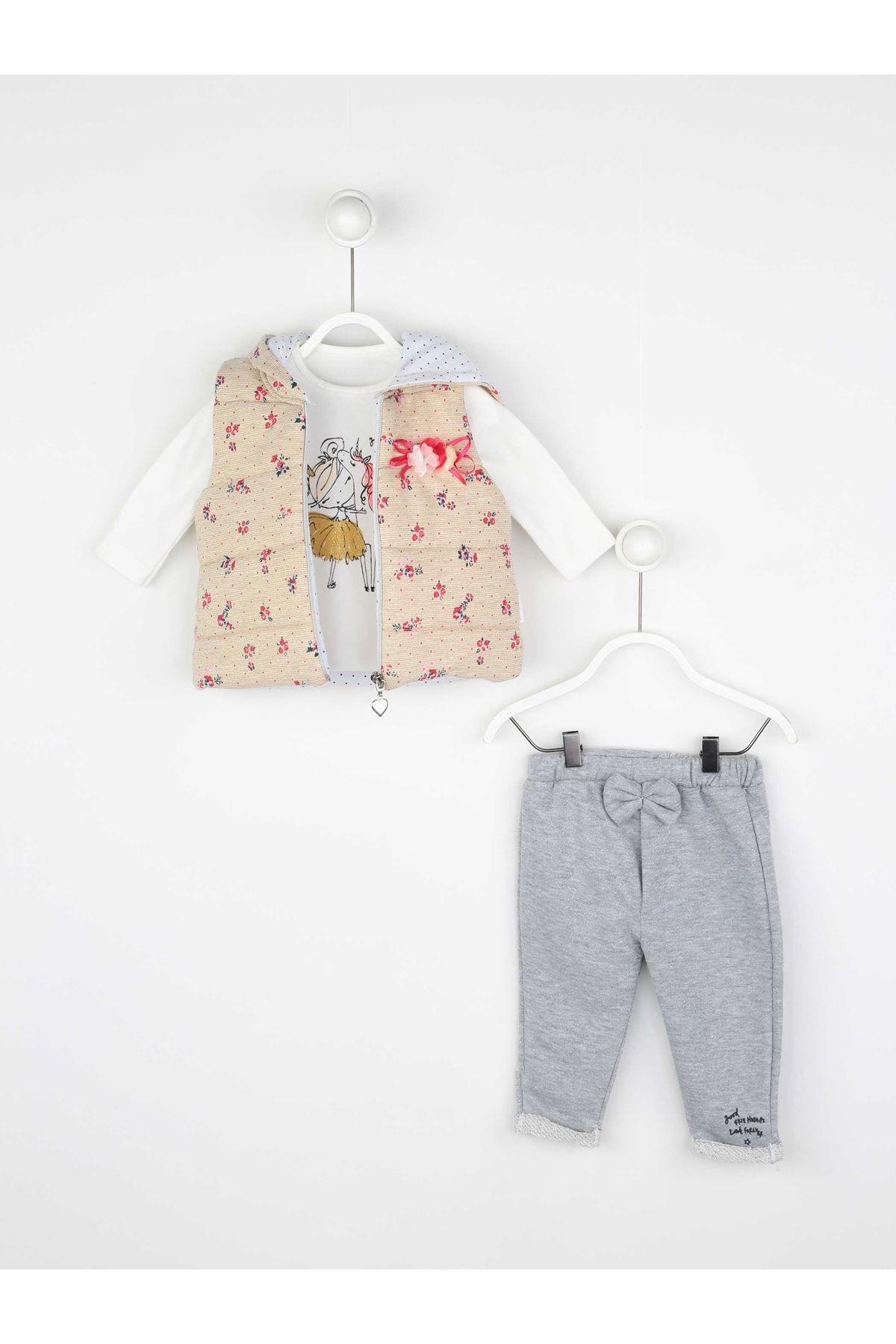White Seasonal Girl Baby Vest Suit