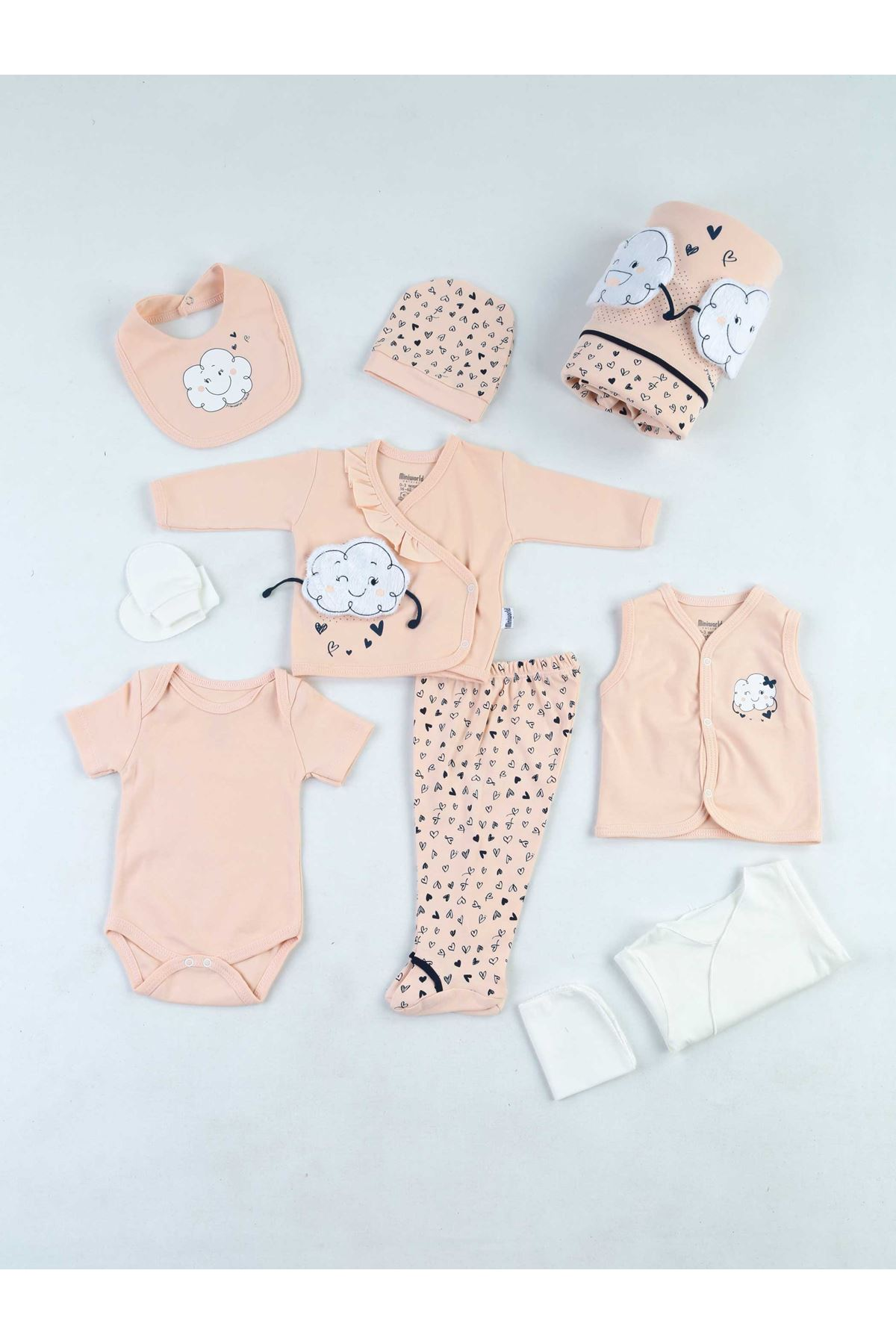 Baby Girl Newborn 10 Piece Set Suit Powder Color Cotton Babies Hospital Outlet Clothing Infants Daily Comfortable Use Models