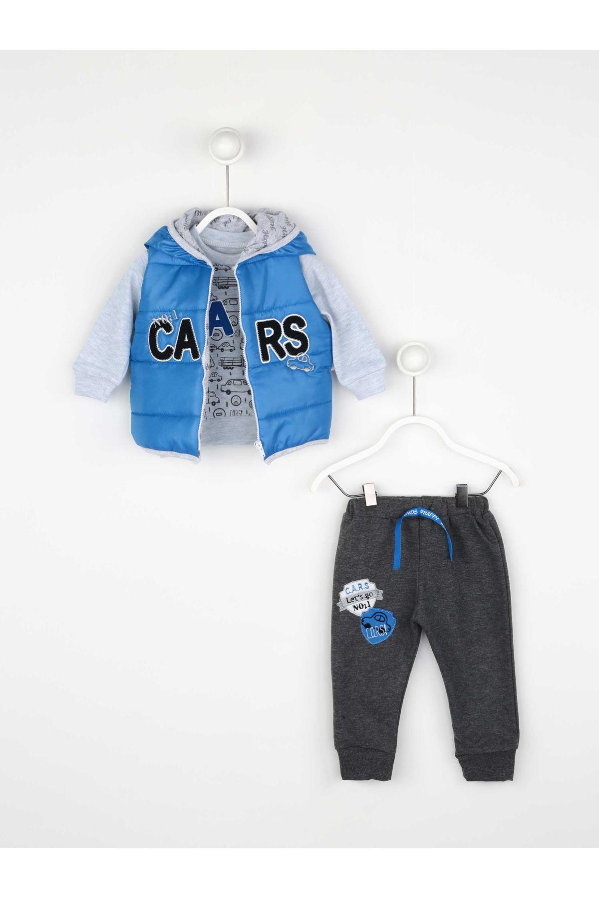 Mavi Mevsimlik Erkek  Bebek Yelekli Takım