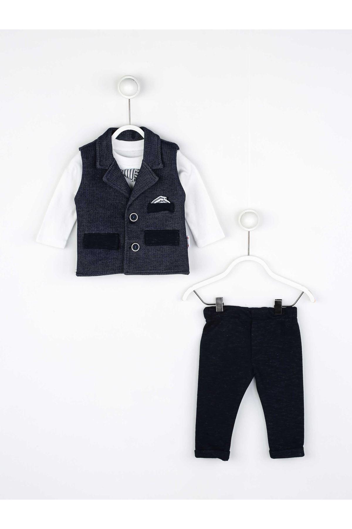 Navy blue baby boy 3 piece sets suits cotton gentleman babies models