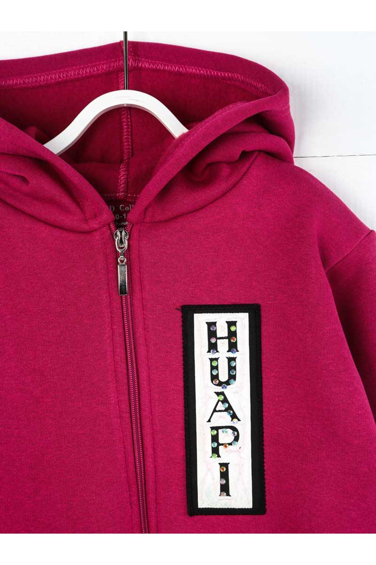 Mor Kışlık Kapüşonlu  Kız Çocuk Sweatshirt