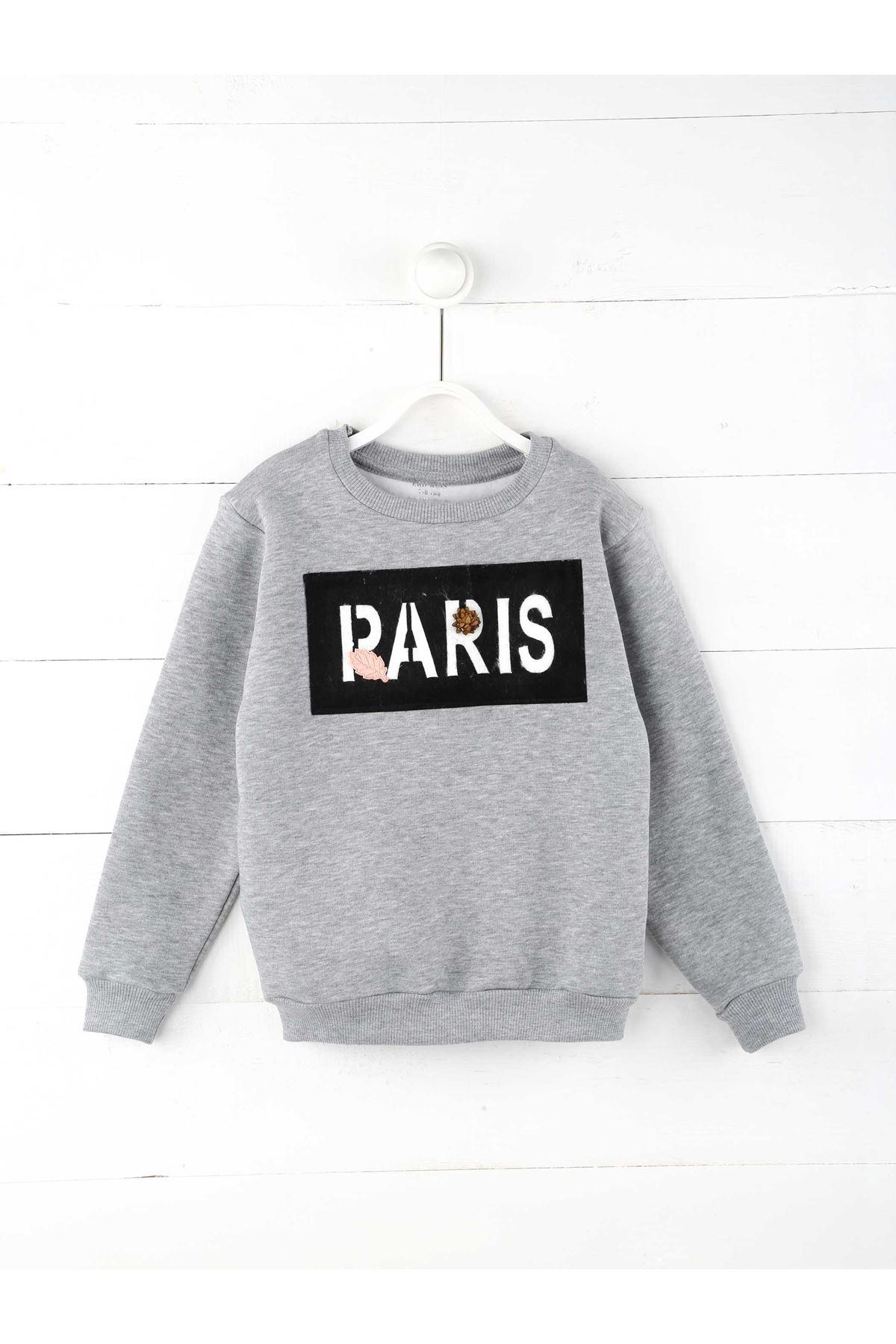 Gri Kışlık Kız Çocuk Sweatshirt
