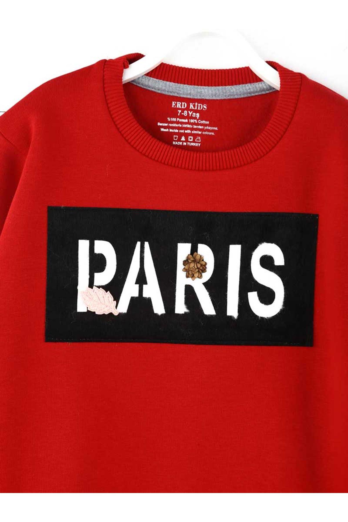 Kırmızı Kışlık Kız Çocuk Sweatshirt