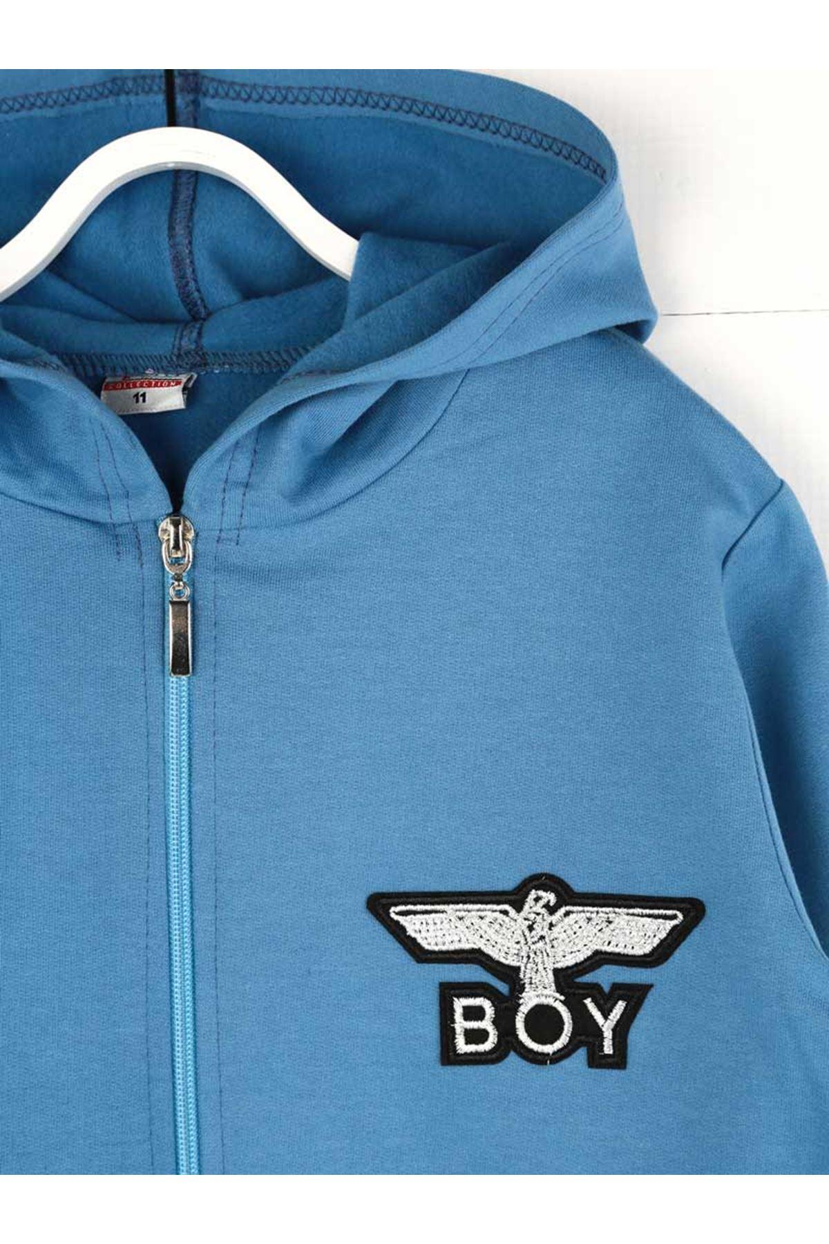 Mavi Mevsimlik Kapüşonlu Erkek Çocuk Sweatshirt