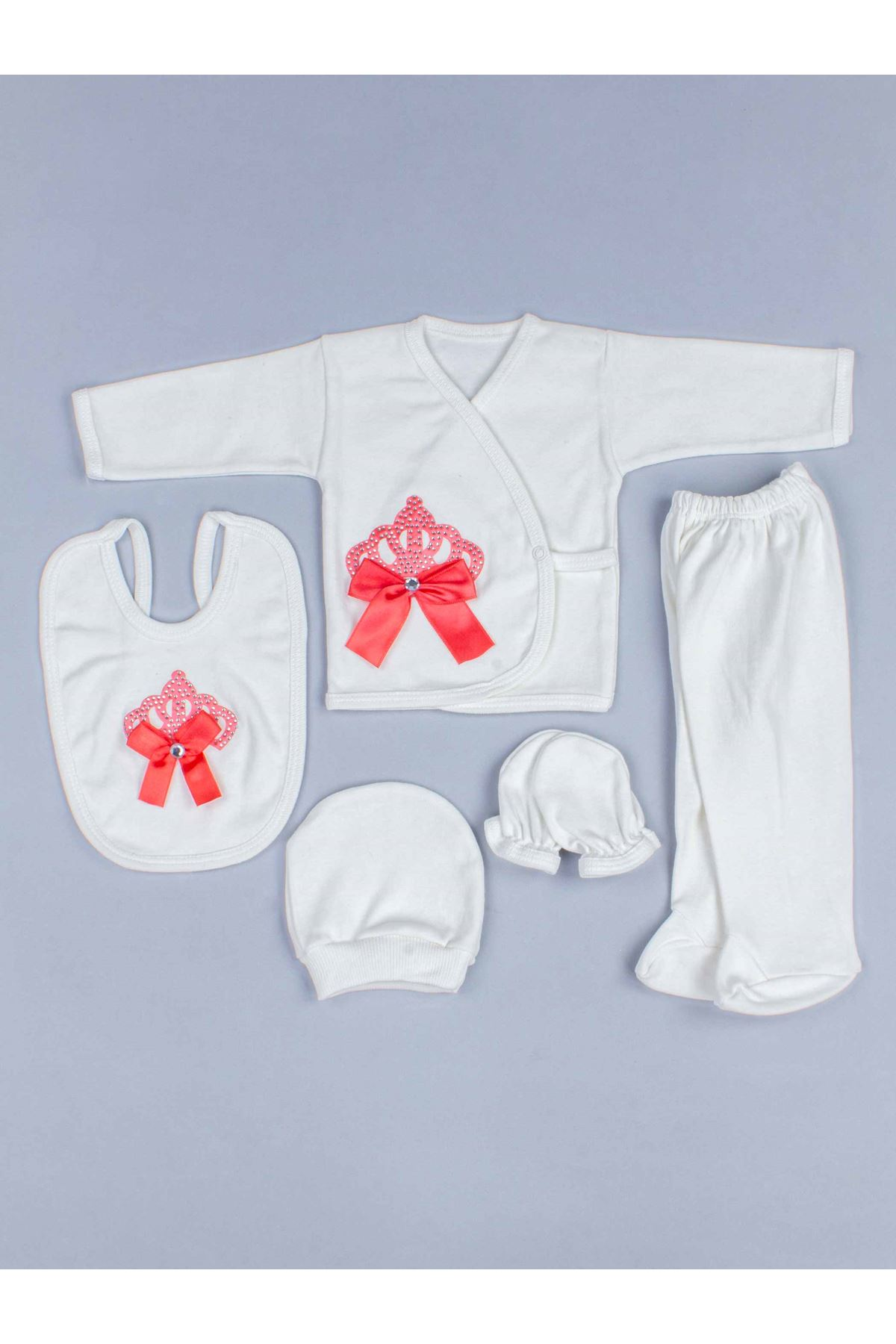 Red Baby Rompers Girl Boy Newborn Clothes 5pcs Set King Queen Clothing Antiallergic Cotton Babies Types Hospital Outlet Types