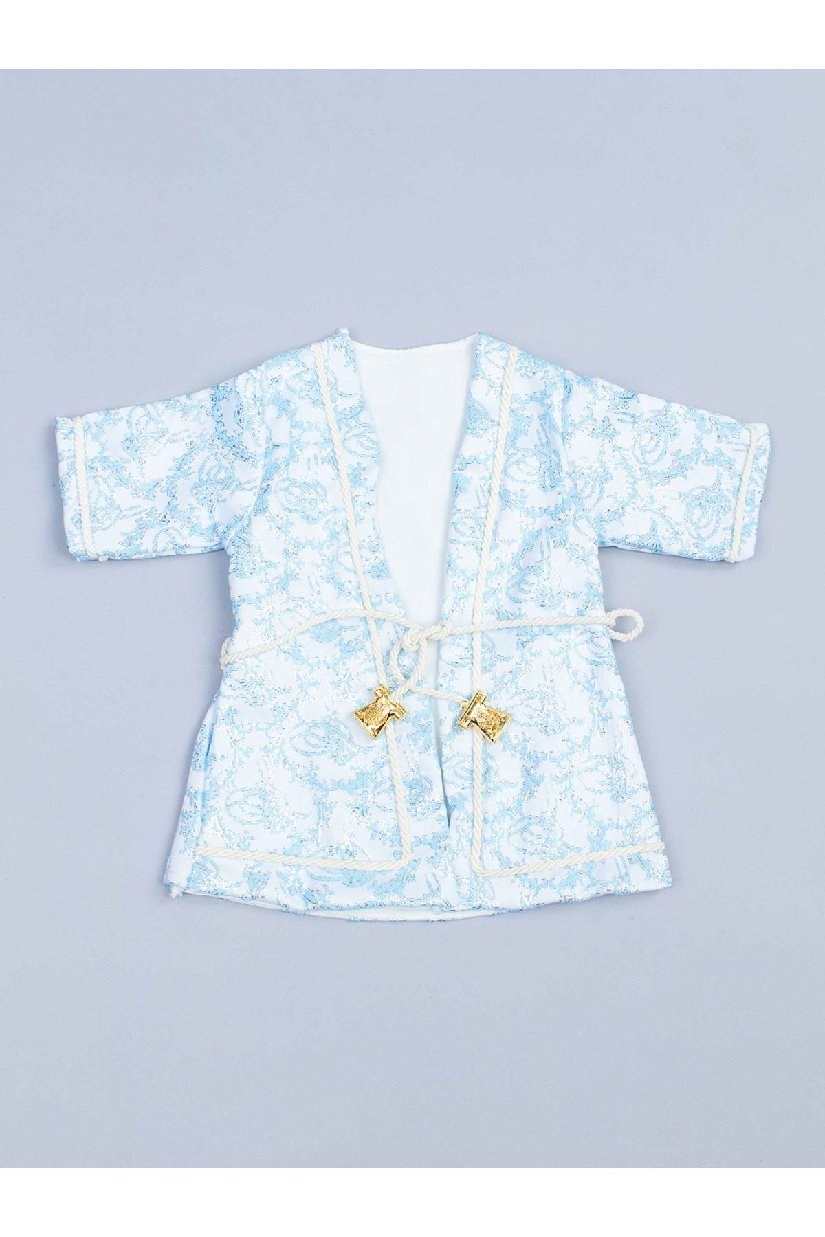 Baby Boy Blue Prince Suit Old Nostalgia Vintage Ottoman Prince Special Occasions Stylish Babies 5-piece Comfortable Fashion boys