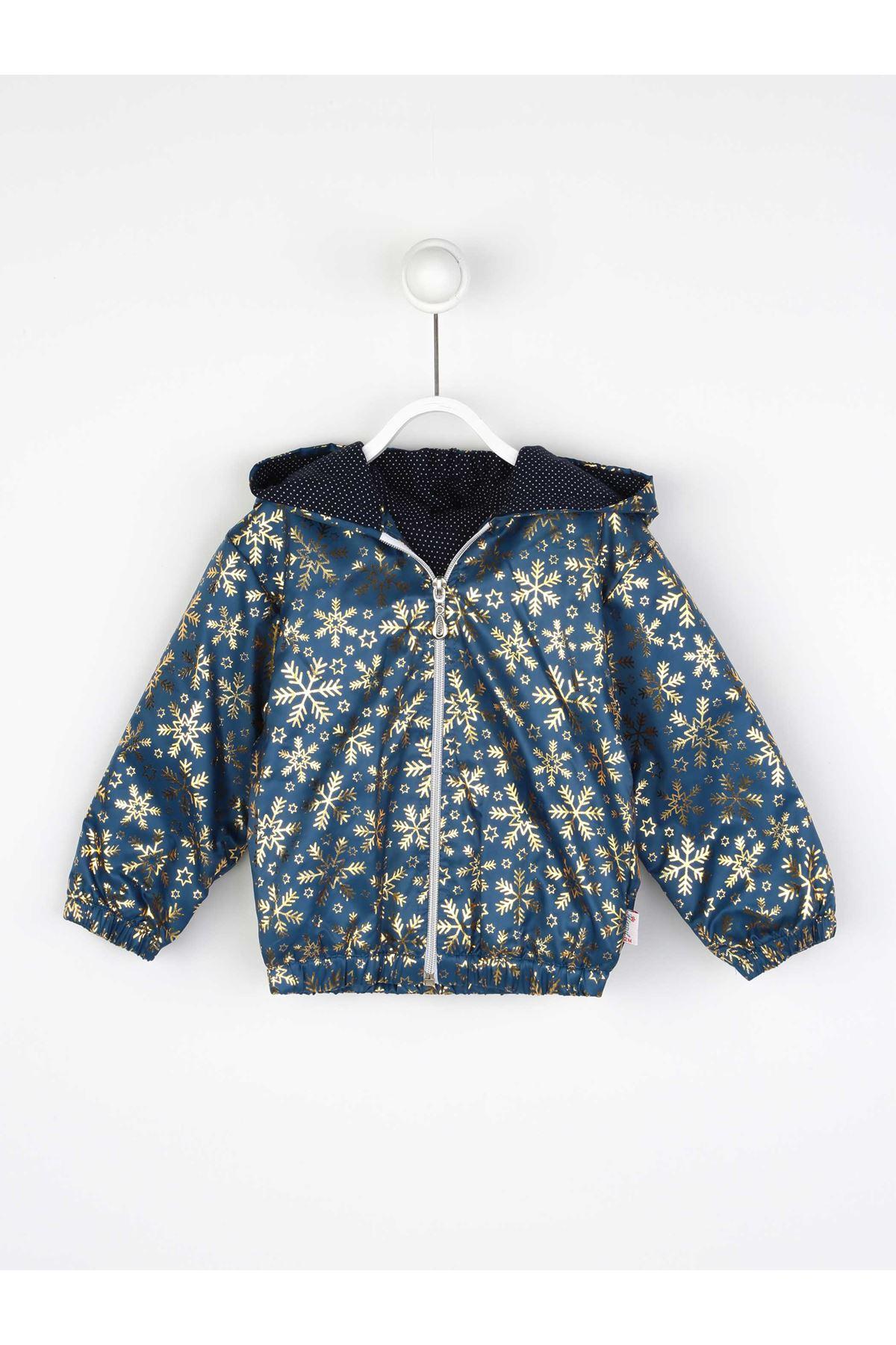 Navy blue Female Child Hooded Raincoat Thin Coats