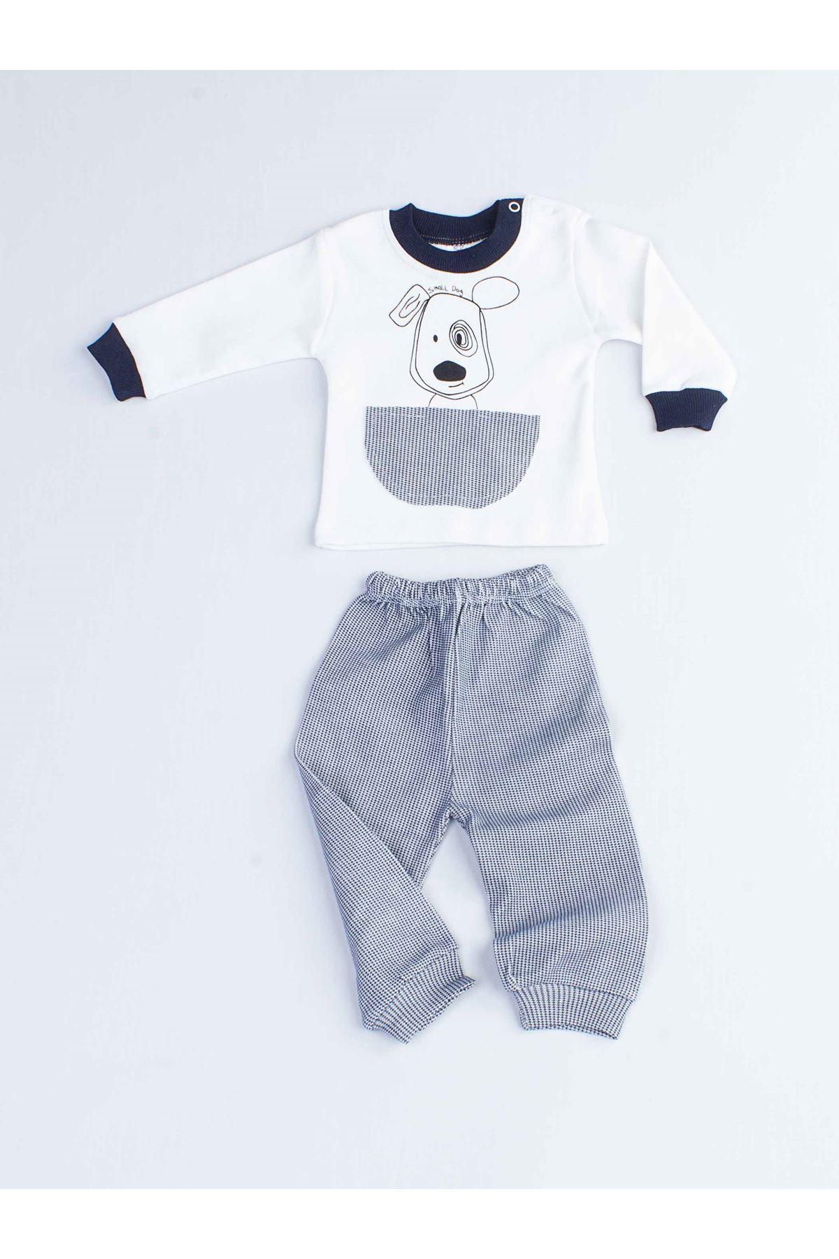 Navy Dog Male Baby Pajamas set