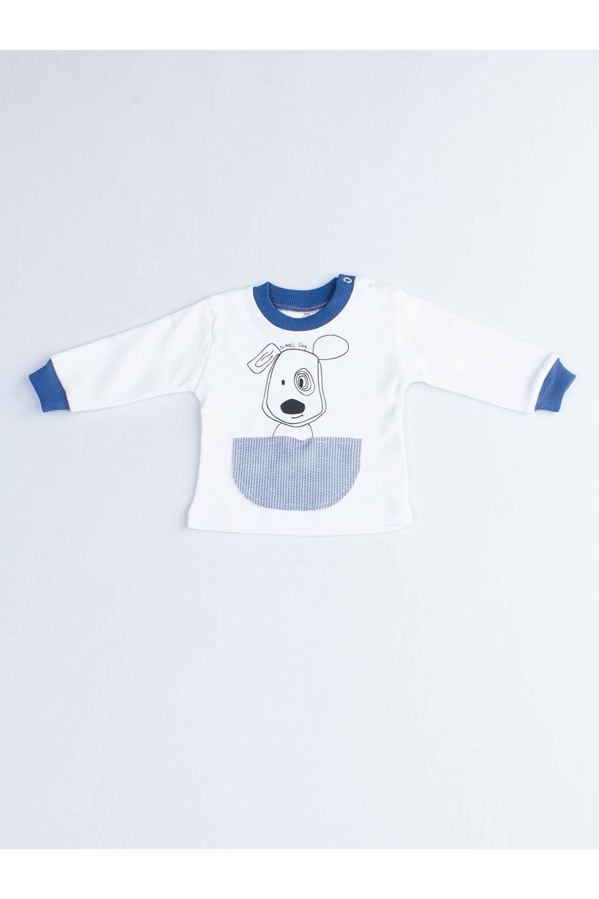 Lacivert Köpekli Erkek Bebek Pijama Takımı