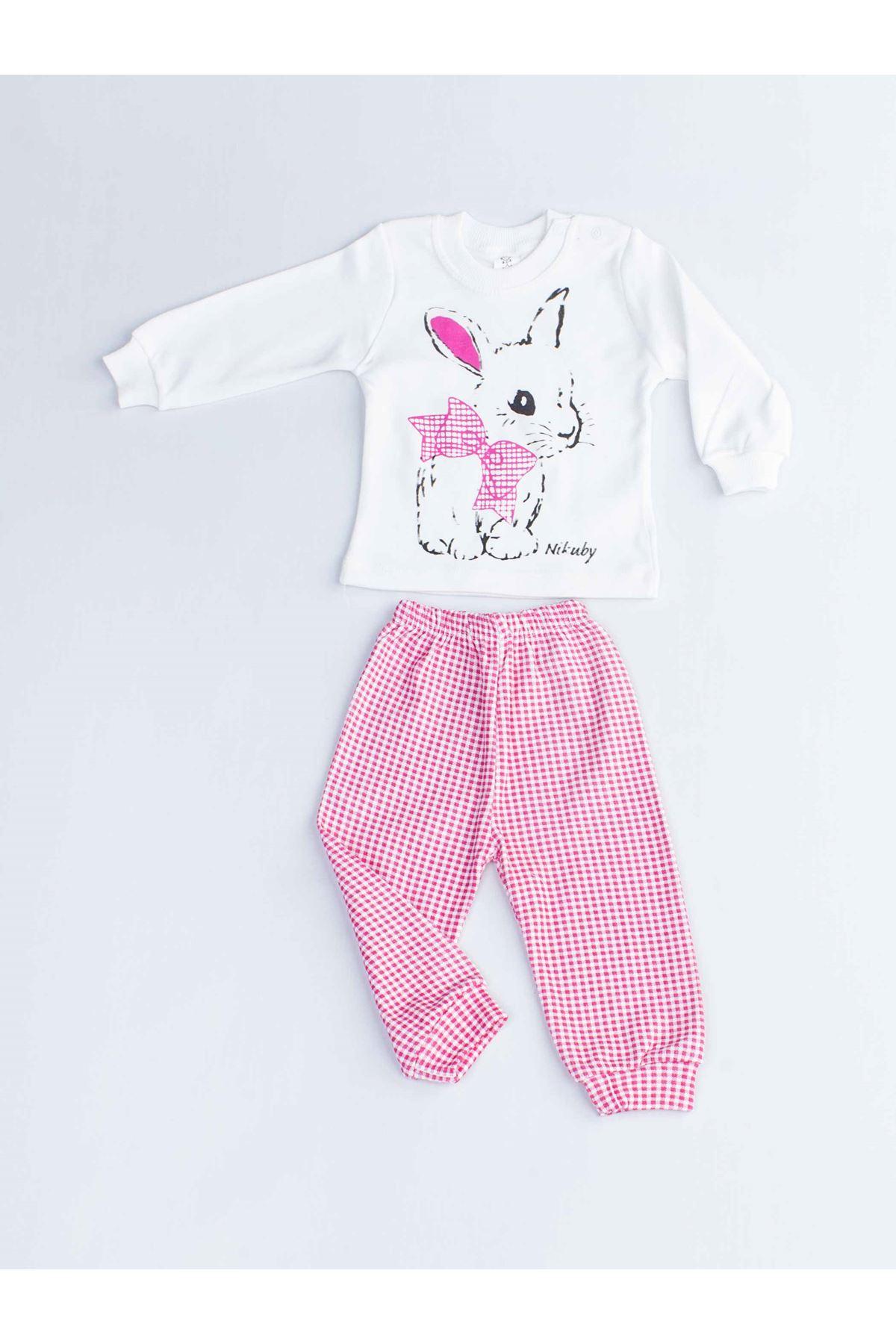 Fuşya Tavşanlı Kız Bebek Pijama Takımı