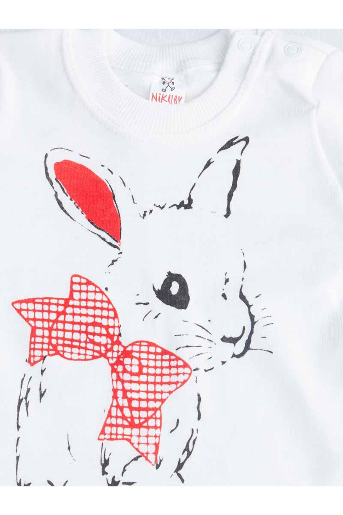 Red Tavşanlı Baby Girl Pajamas set
