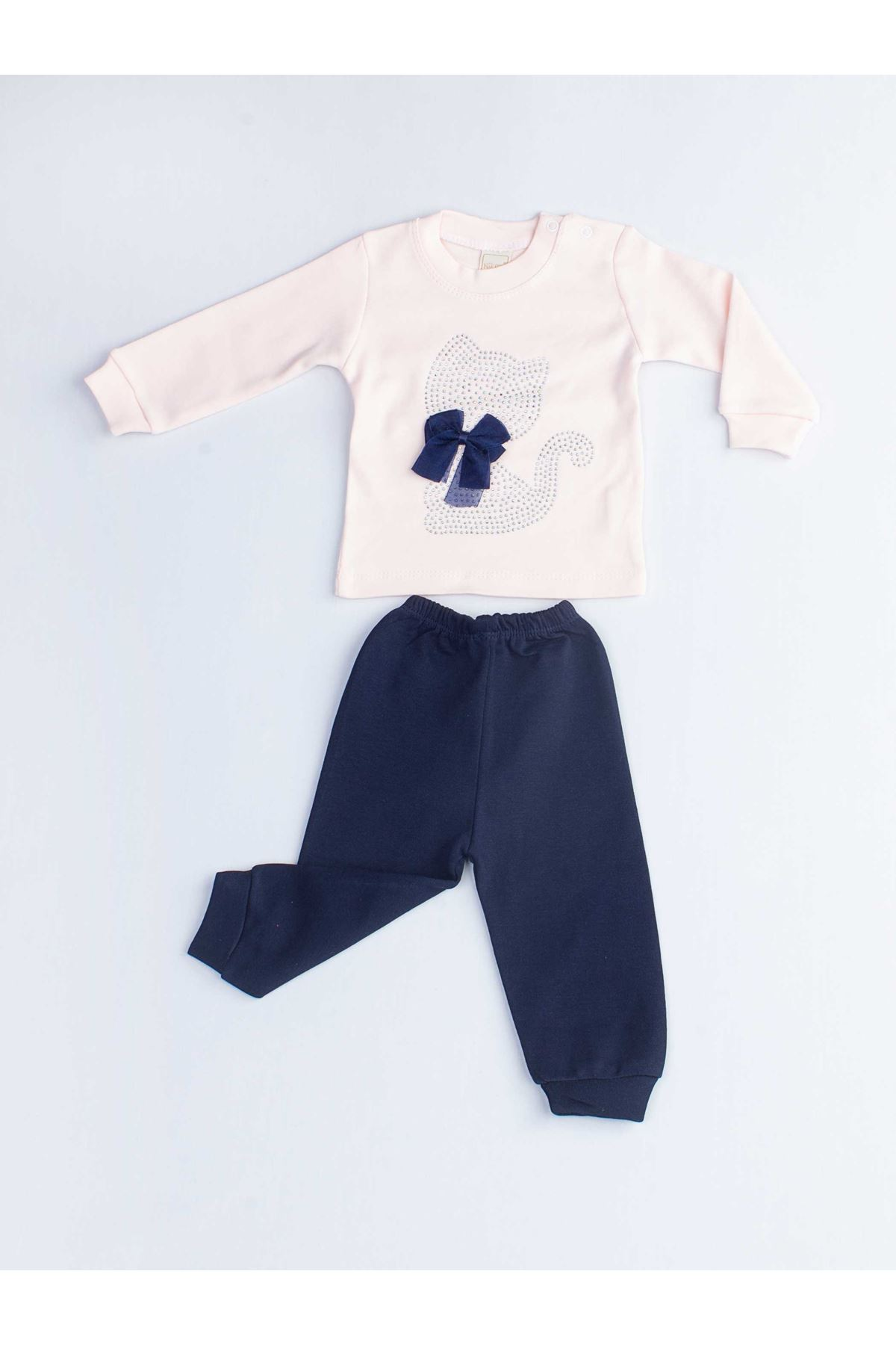 Powder Pink Navy Blue Baby Girl 2 Piece Set Tracksuit Bottom Babies Girls Wear Top Outfit Cotton Casual Casual Outfit models