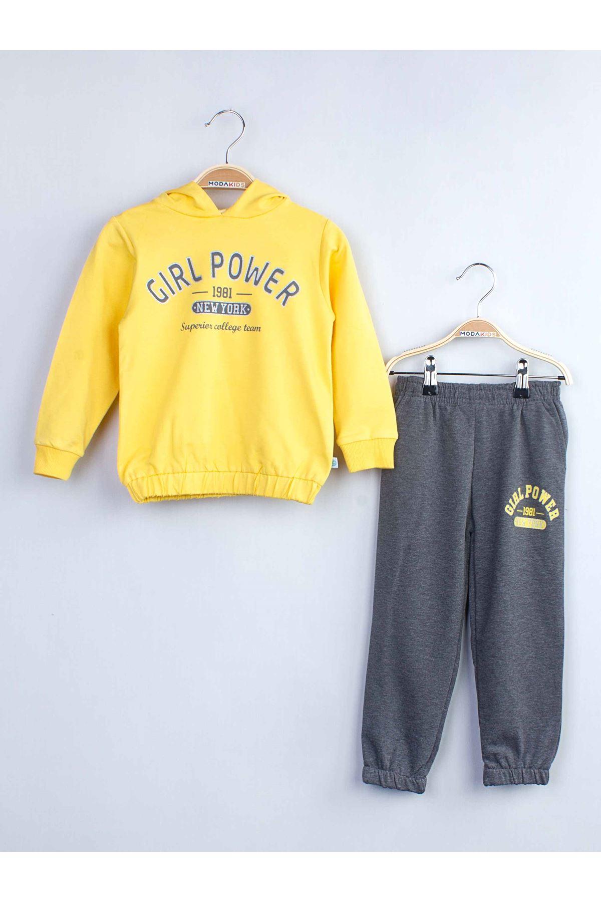 Yellow girls children tracksuit set hooded outerwear cotton seasonal bottom wear ball dress tracksuit set