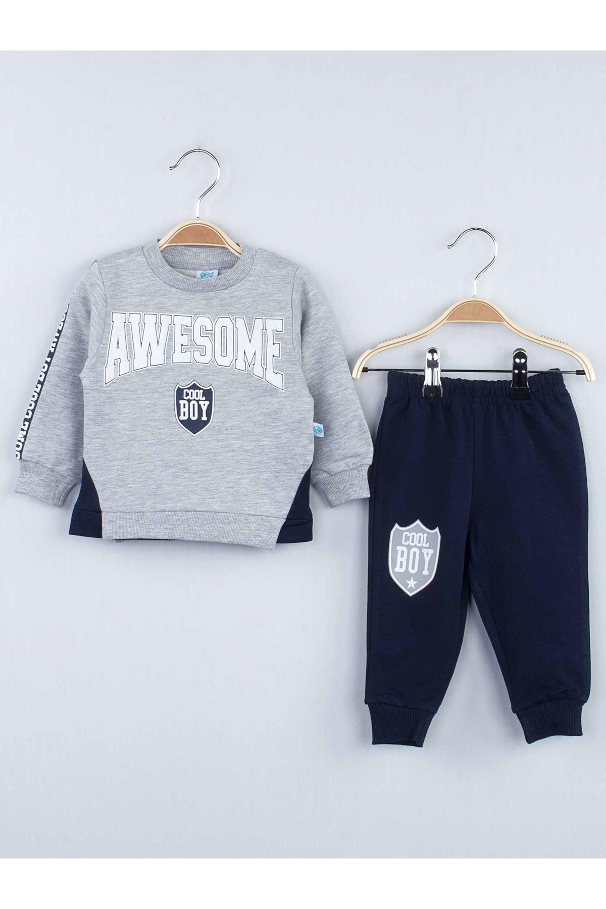 Gray Seasonal Male Baby 2 Piece Suit