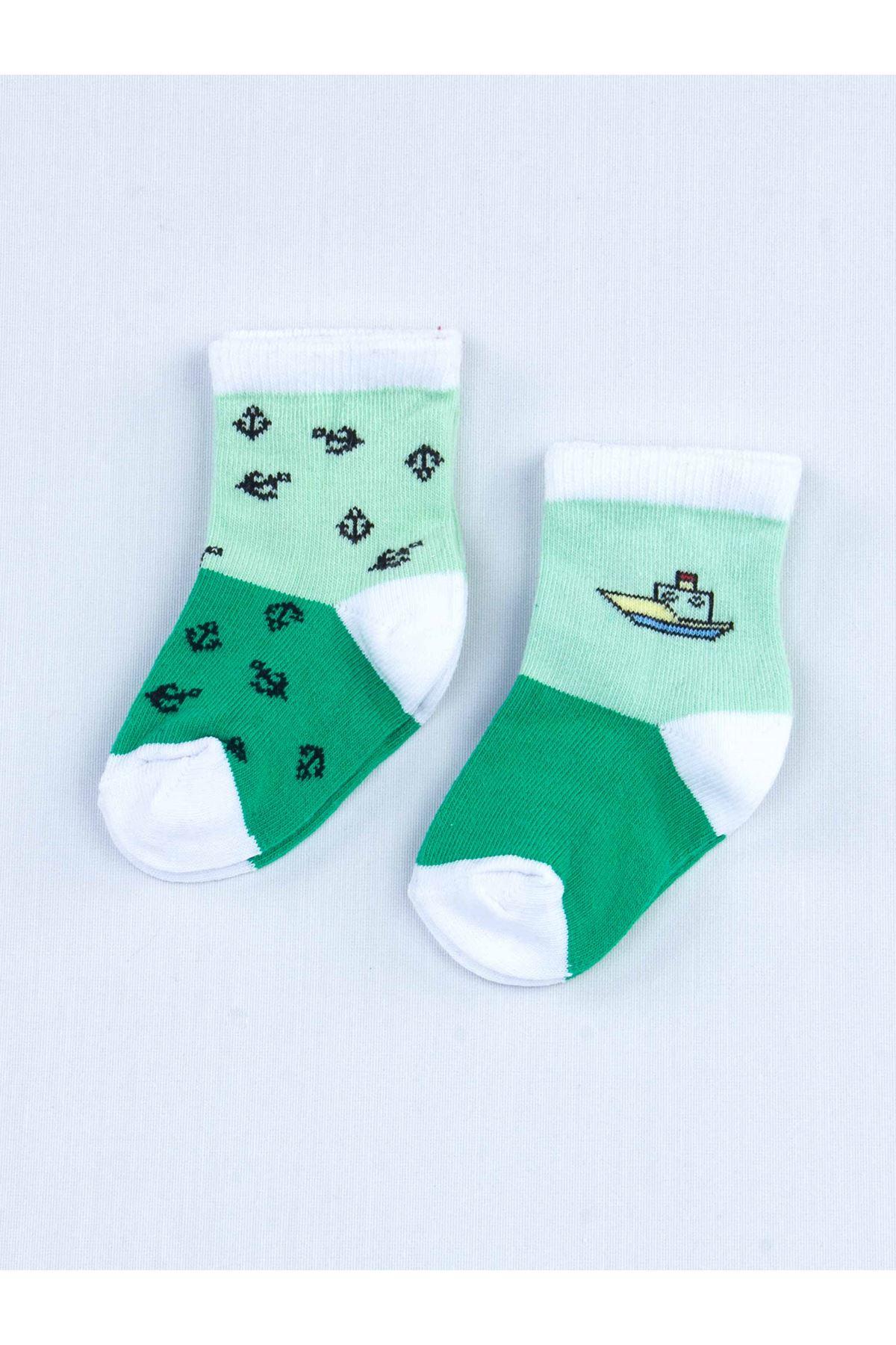 Yeşil Kokulu Erkek Bebek 2 li Çorap